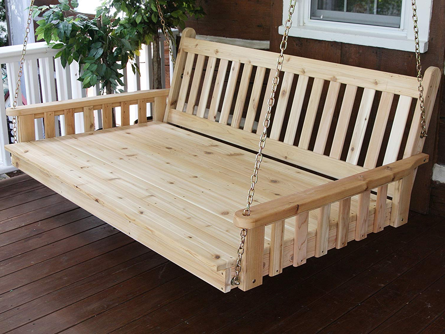 Most Recently Released Best Hanging Porch Swing Bed Swingbed, 6' Cedar Swinging Daybed For  Relaxing Moments, Fun 3 Person Seating For Patio Porches Pergola Furniture, Inside Country Style Hanging Daybed Swings (Gallery 26 of 30)