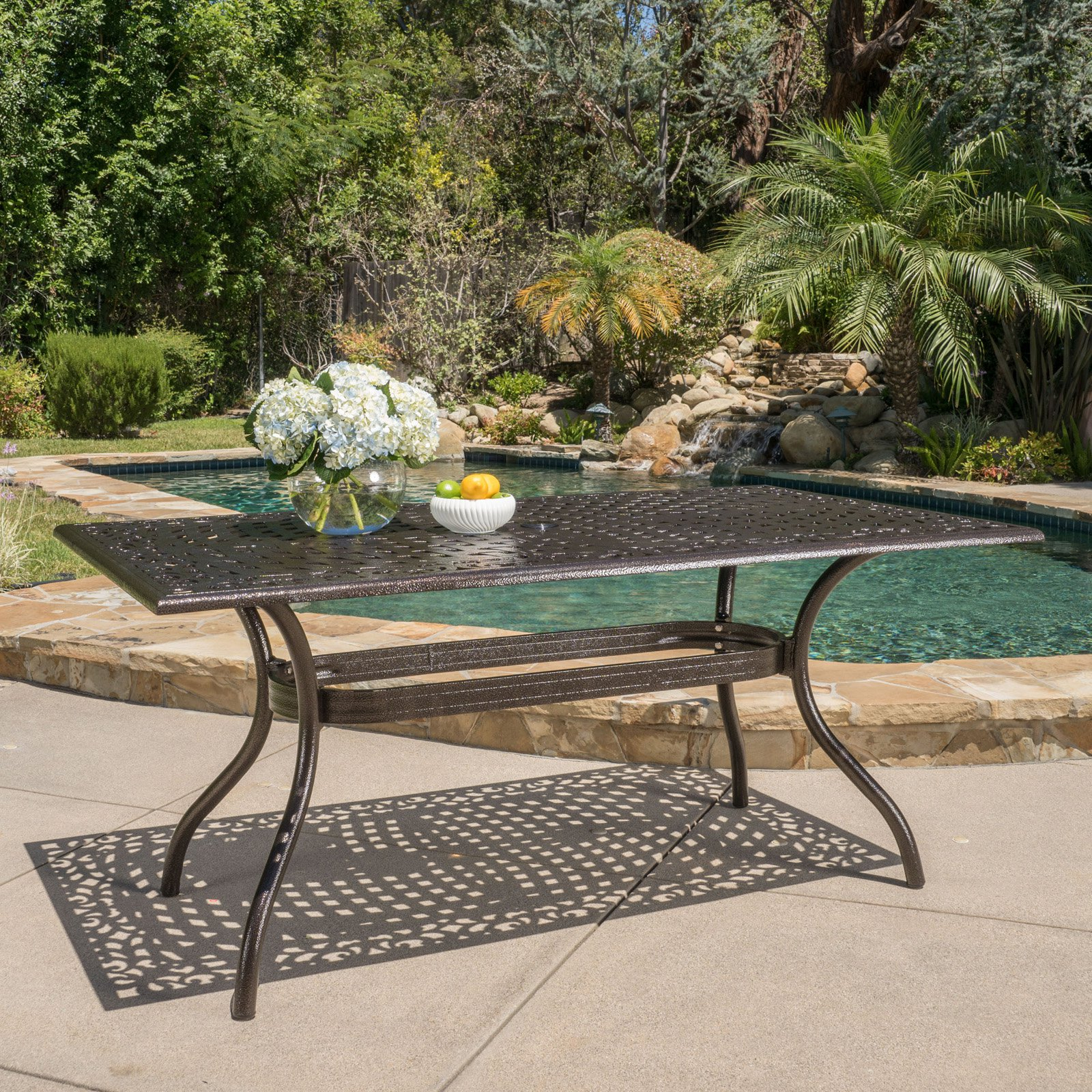Most Recently Released Bogota Cast Aluminum Rectangular Patio Table With Hammered With 2 Person Hammered Bronze Iron Outdoor Swings (Gallery 23 of 30)