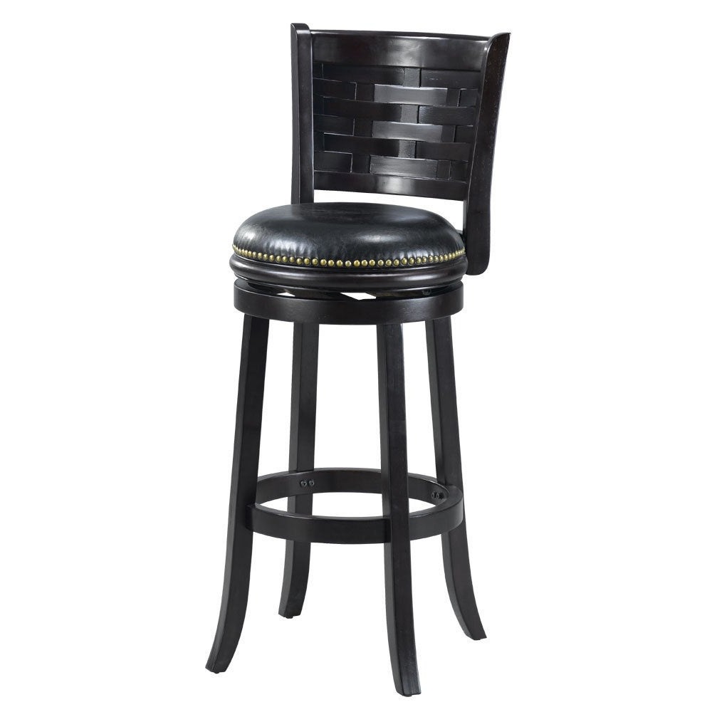 Most Recently Released 'brooklyn' Black Bi Cast Leather Woven Back Swivel Bar Stool Regarding Woven High Back Swivel Chairs (Gallery 27 of 30)