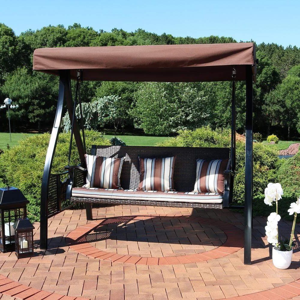 Most Recently Released Canopy Patio Porch Swing With Stand Regarding Sunnydaze Decor Deluxe Steel Frame Canopy Porch Swing With (Gallery 12 of 30)