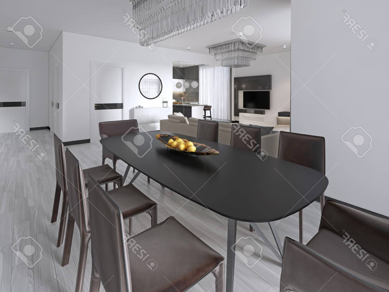 Most Recently Released Contemporary Dining Room With A Large Rectangular Dining Table. (View 29 of 30)