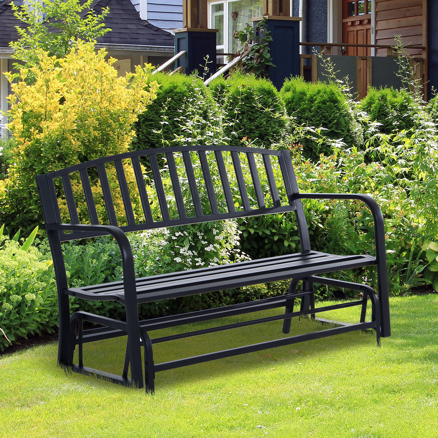 Most Recently Released Details About Patio Garden Glider 2 Person Outdoor Porch Bench Rocking Chair Yard Furniture Pertaining To 2 Person Antique Black Iron Outdoor Gliders (View 13 of 30)