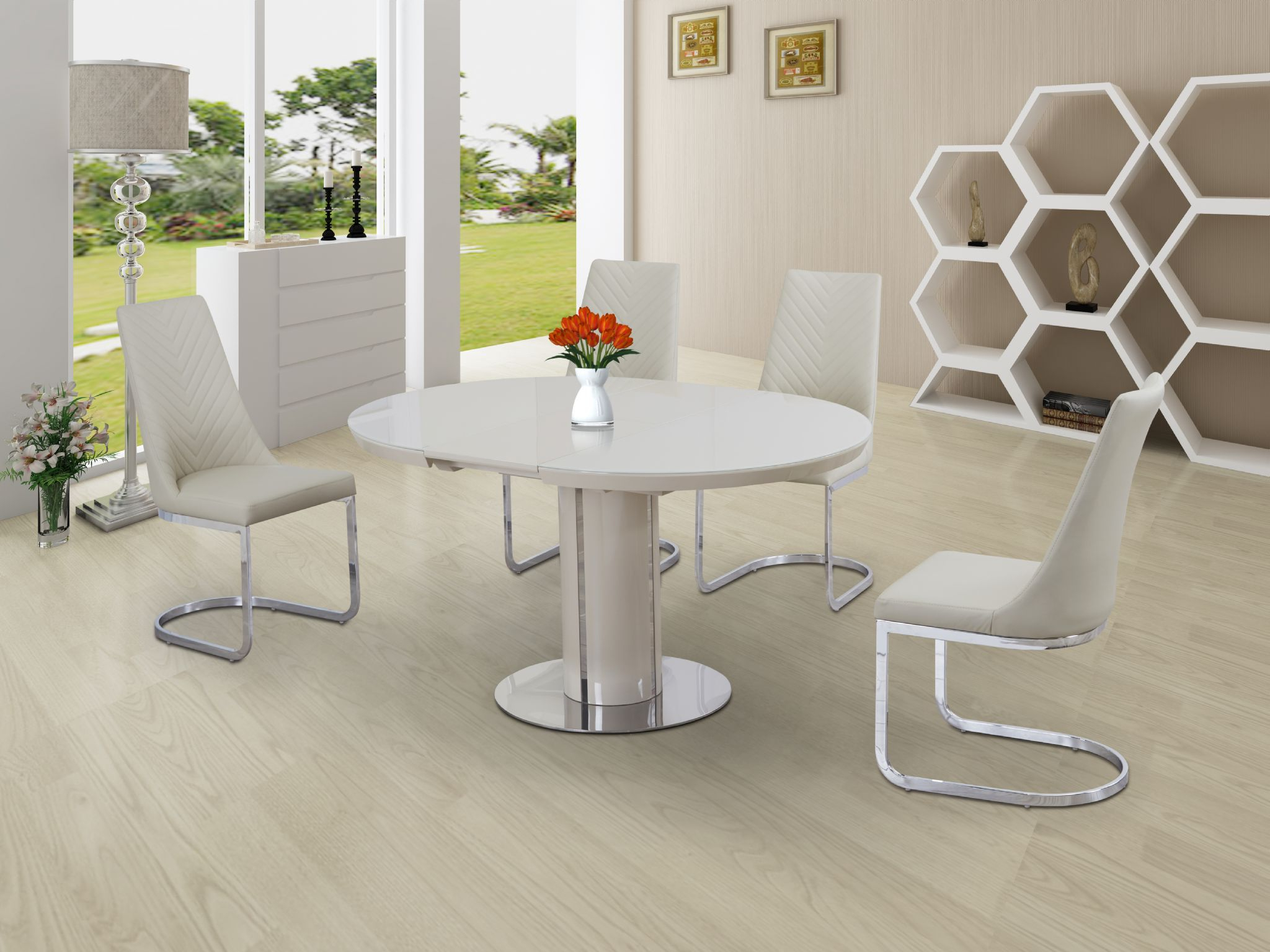Most Recently Released Eclipse Round / Oval Gloss & Glass Extending 110 To 145 Cm Dining Table –  Cream Inside Eclipse Dining Tables (Gallery 12 of 30)