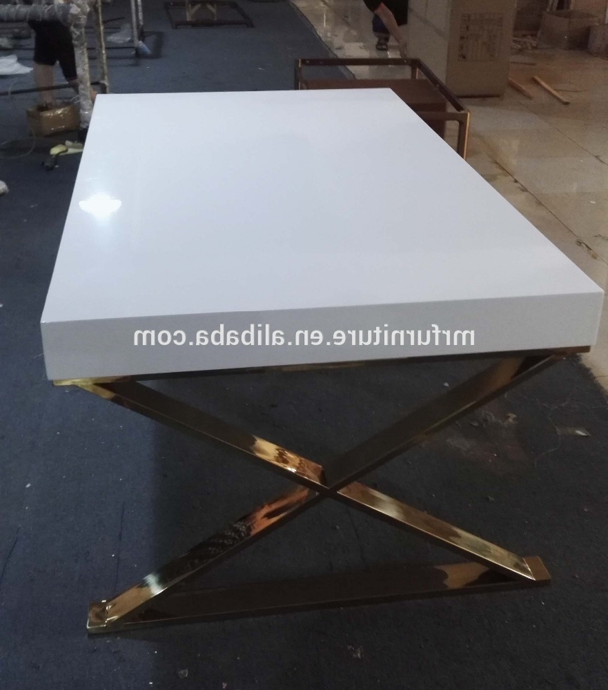 Most Recently Released Event Wedding Gold Stainless Steel Base High Glossy White Wooden Top Dining  Table – Buy Event Stainless Steel Dining Table,high Glossy White Top Regarding Wood Top Dining Tables (Gallery 29 of 30)