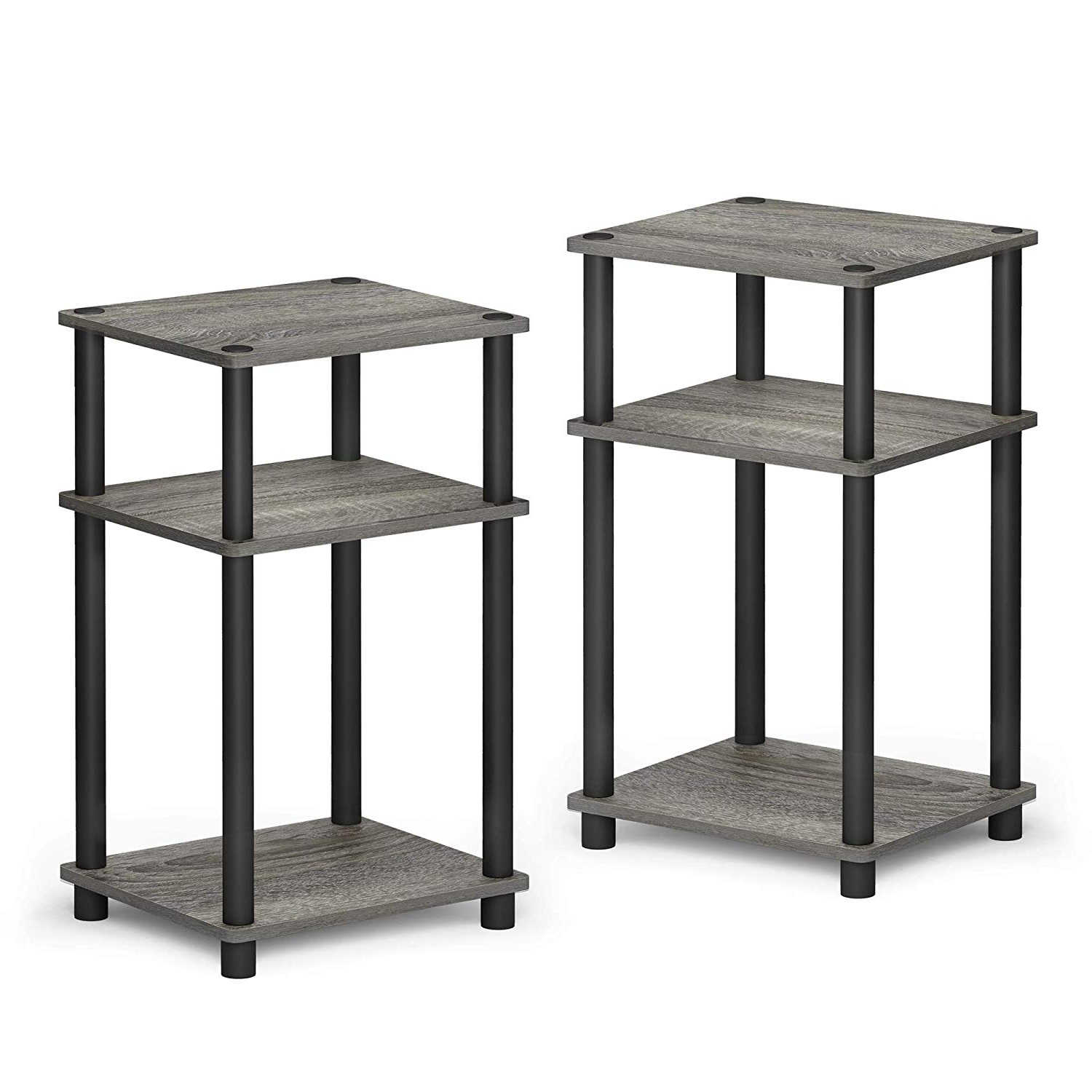 Most Recently Released Furinno Just 3 Tier Turn N Tube 2 Pack End Table, French Oak Grey/black In Acacia Dining Tables With Black Rocket Legs (View 27 of 30)