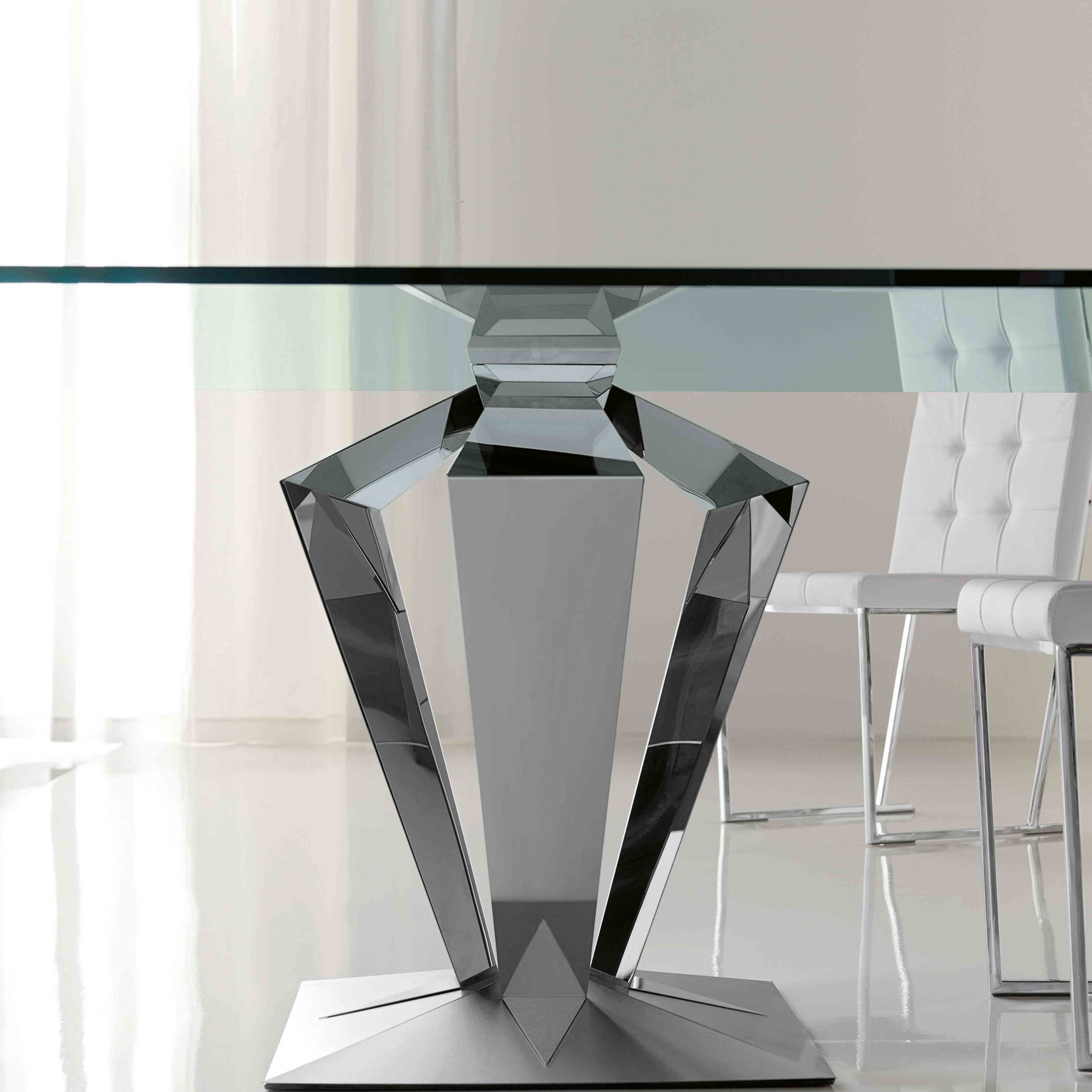 Most Recently Released Glass Dining Tables With Metal Legs Inside Cool Rectangle Flat Polished Profile Glass Dining Table Top (Gallery 4 of 30)