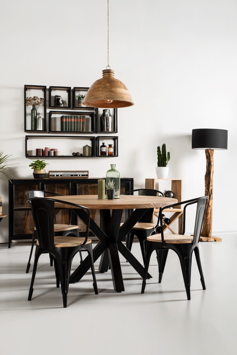 Most Recently Released Iron Dining Tables With Mango Wood For Round Dining Table Oakland – ⌀120 Cm – Solid Mango Wood (Gallery 9 of 30)