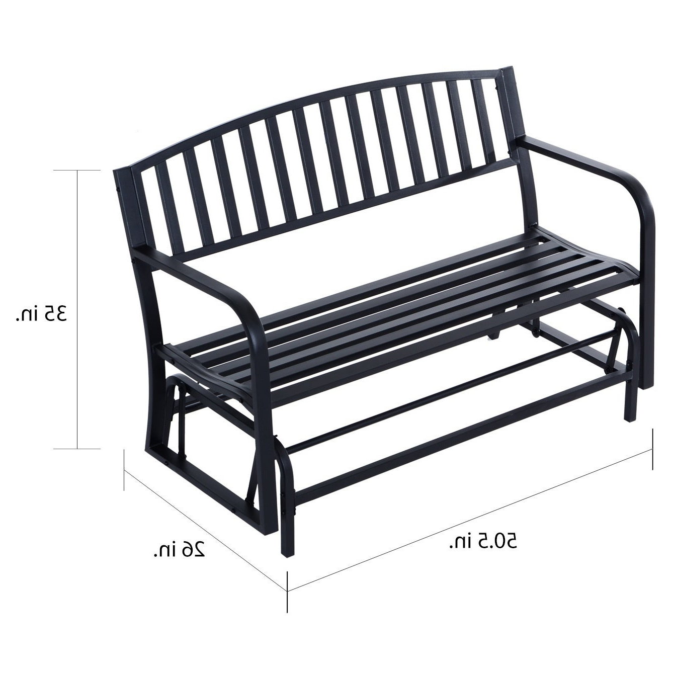 Most Recently Released Metal Powder Coat Double Seat Glider Benches Regarding Outsunny 50 Inch Outdoor Steel Patio Swing Glider Bench – Black (View 25 of 30)