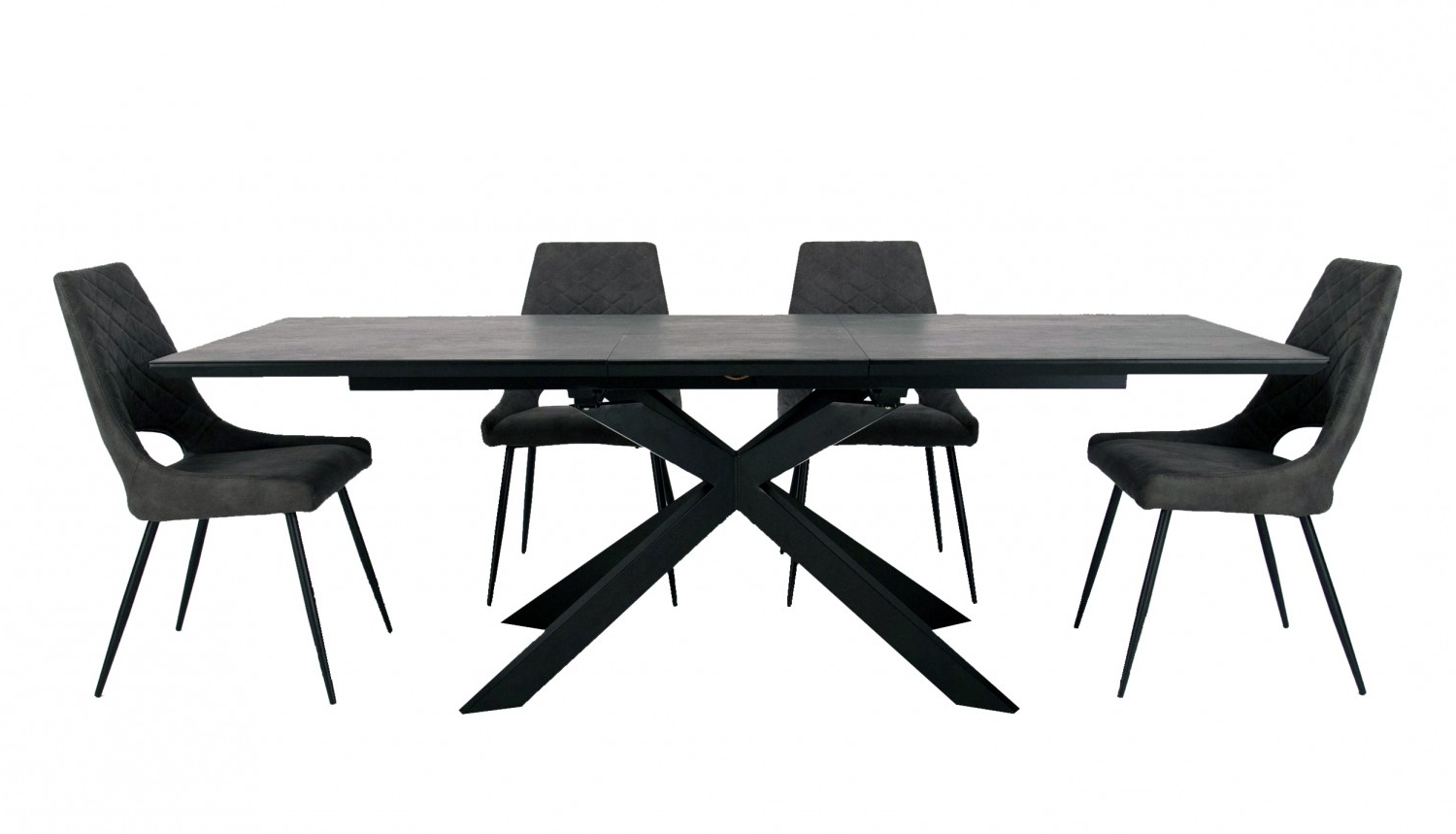 Most Recently Released Milan Extending Dining Table With Matt Ceramic Top And 4 Dining Chairs Regarding Modern Glass Top Extension Dining Tables In Matte Black (Gallery 12 of 30)