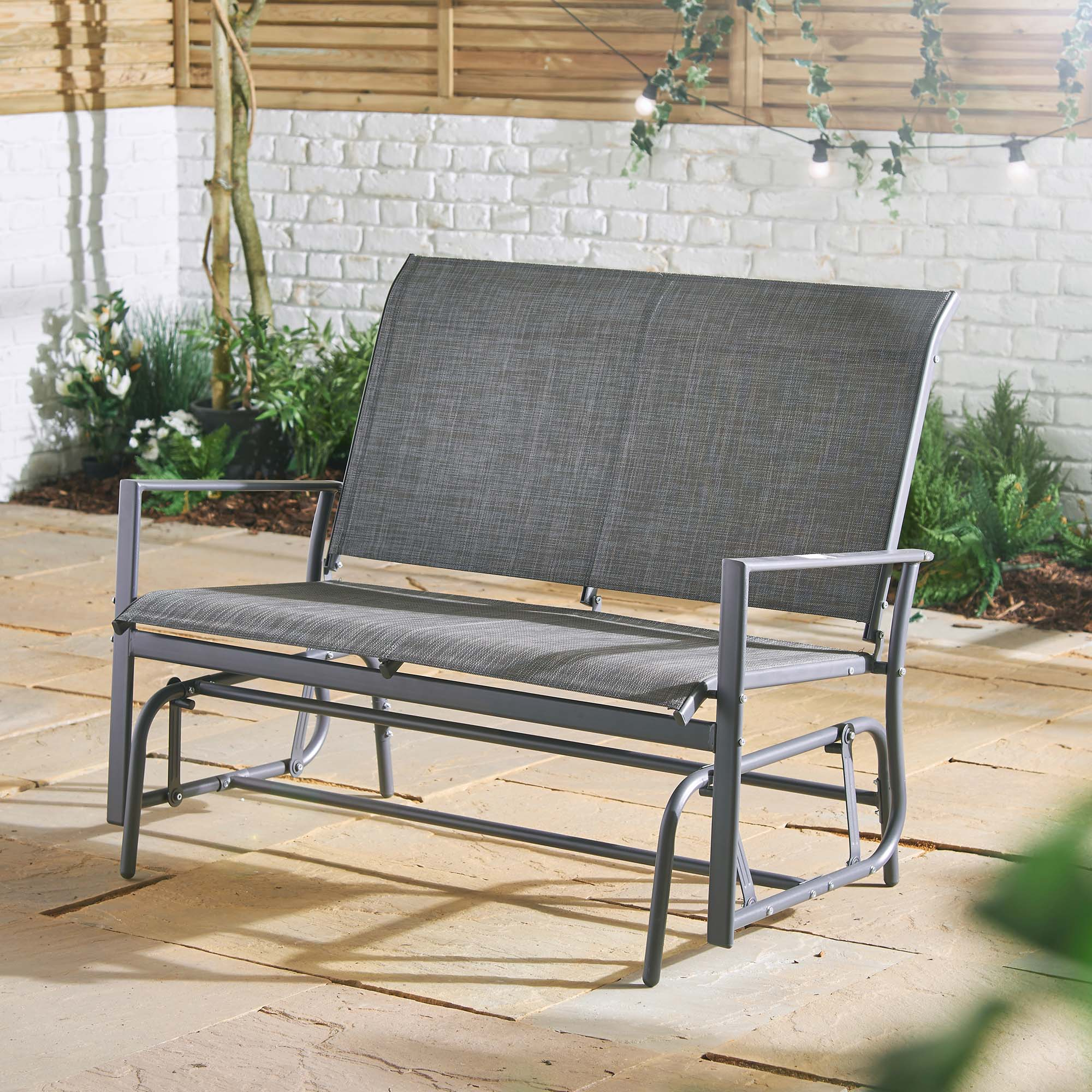 Most Recently Released Outdoor Fabric Glider Benches Pertaining To Decking Patio Grey Balcony Vonhaus Seater Garden Glider (View 9 of 30)