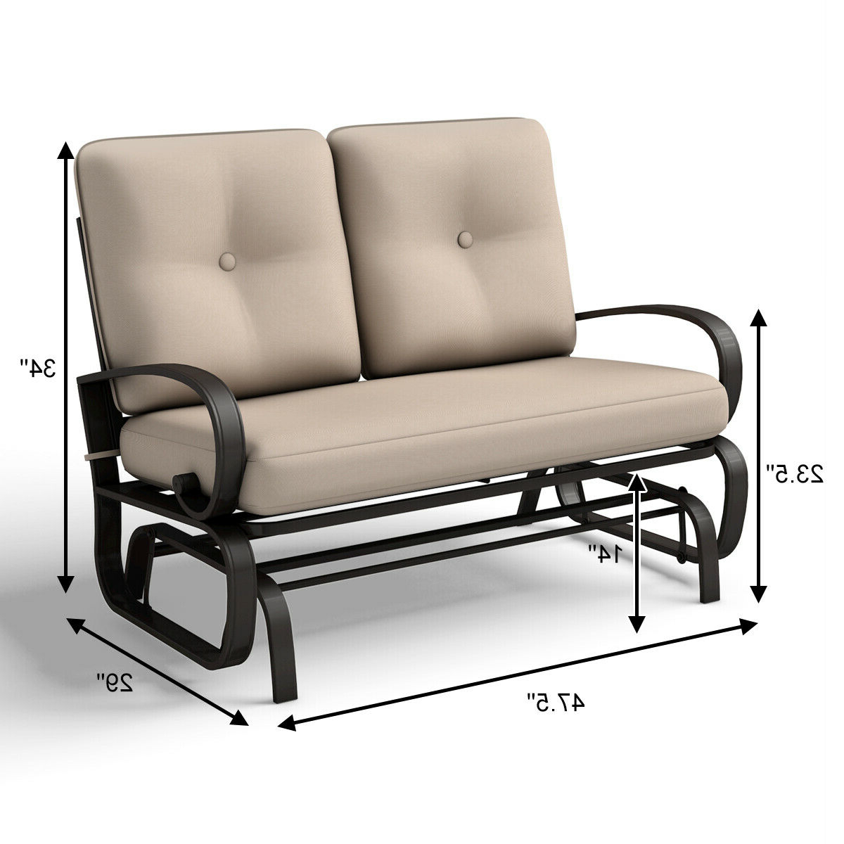 Most Recently Released Outdoor Steel Patio Swing Glider Benches For Glider Outdoor Patio Rocking Bench Loveseat Cushioned Seat Steel Frame Furniture (View 19 of 30)