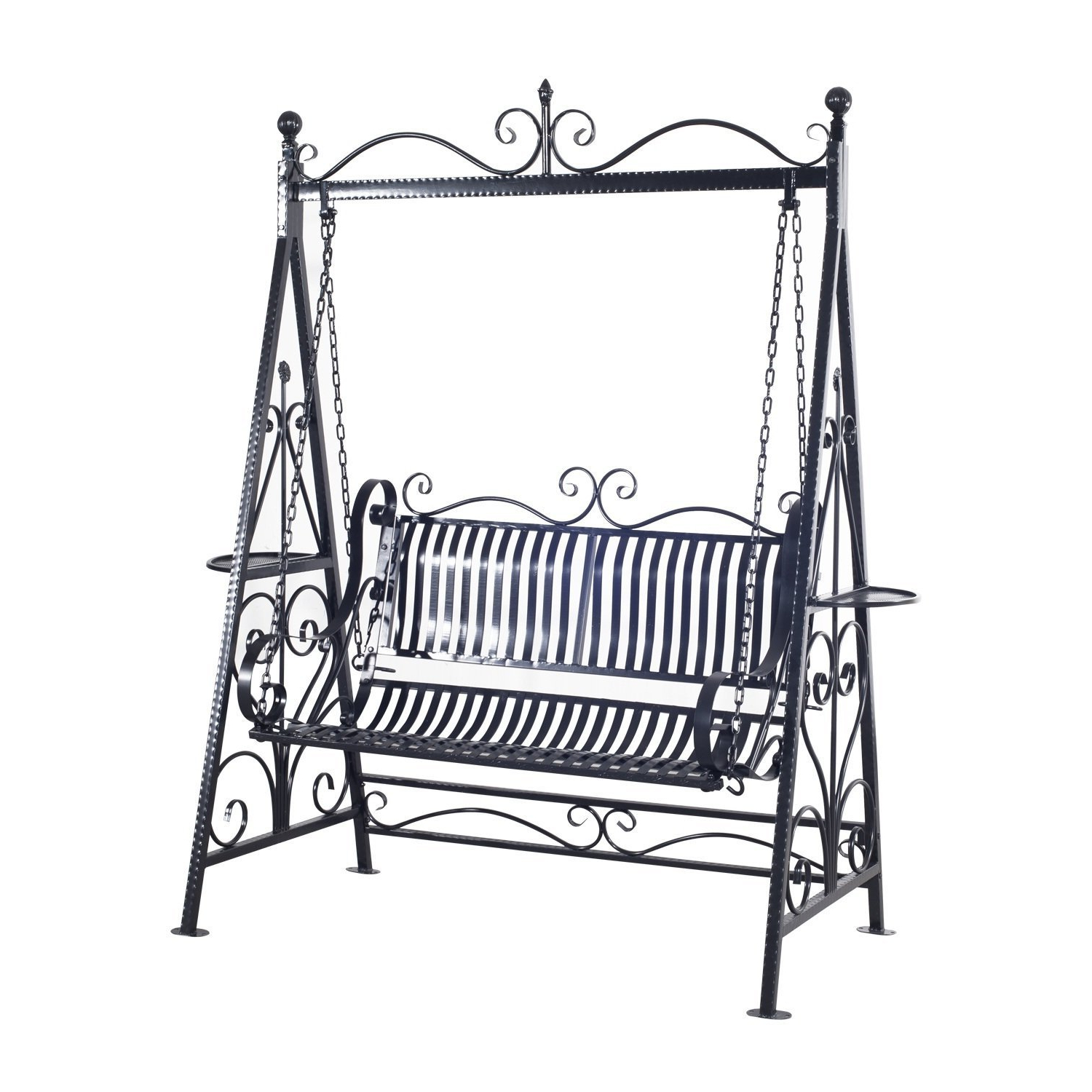 Most Recently Released Outsunny 2 Person Outdoor Metal Garden Swing – Black: Amazon For 2 Person Antique Black Iron Outdoor Swings (Gallery 2 of 30)
