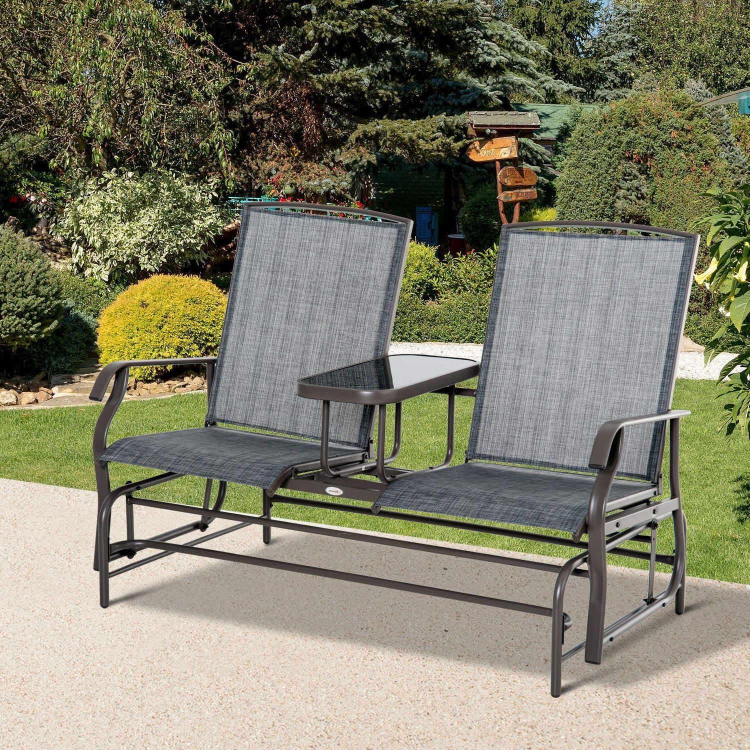 Most Recently Released Outsunny 2 Seater Patio Glider Rocking Chair Metal Swing Bench Furniture Table With Outdoor Patio Swing Glider Bench Chairs (Gallery 17 of 30)