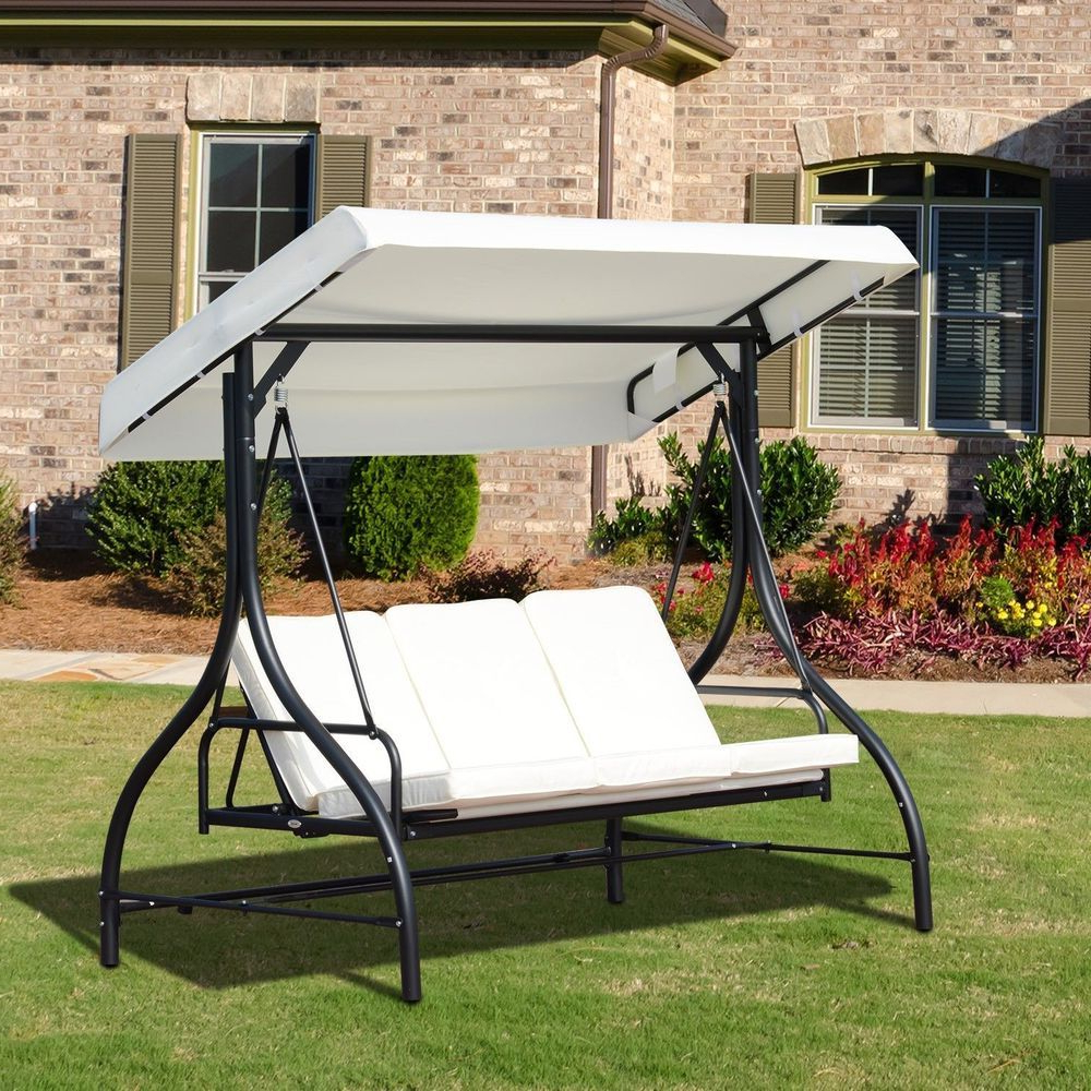 Most Recently Released Patio Loveseat Canopy Hammock Porch Swings With Stand With Regard To Garden Swing Chair 3 Seater Black Metal Frame White Canopy (Gallery 23 of 30)