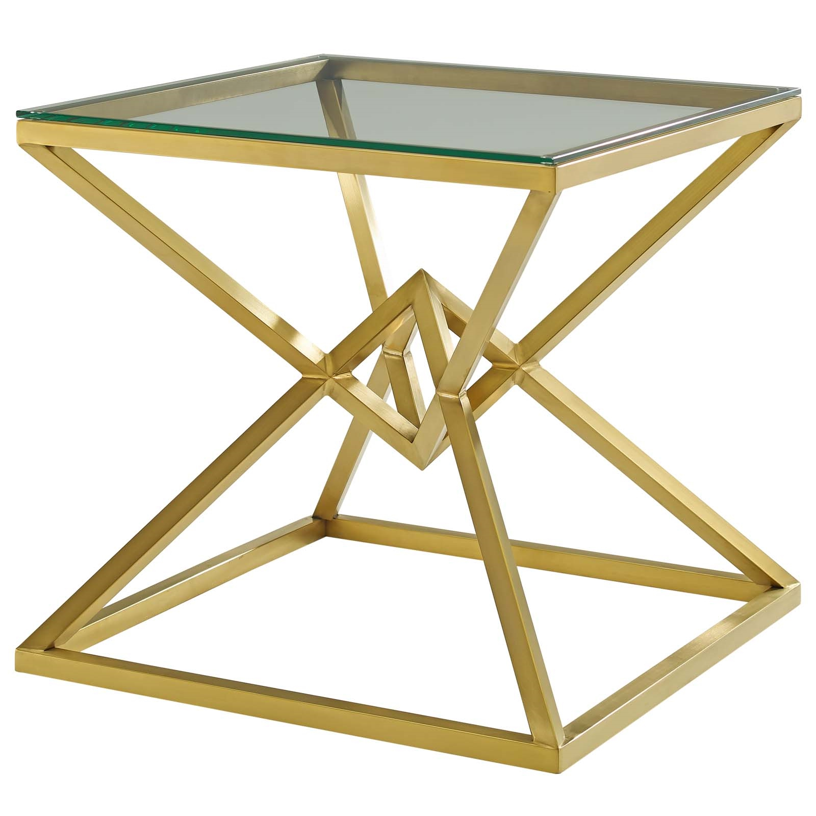 "Most Recently Released Point 25.5"" Brushed Gold Metal Stainless Steel Side Table With Regard To Dining Tables With Brushed Gold Stainless Finish (Gallery 18 of 30)"