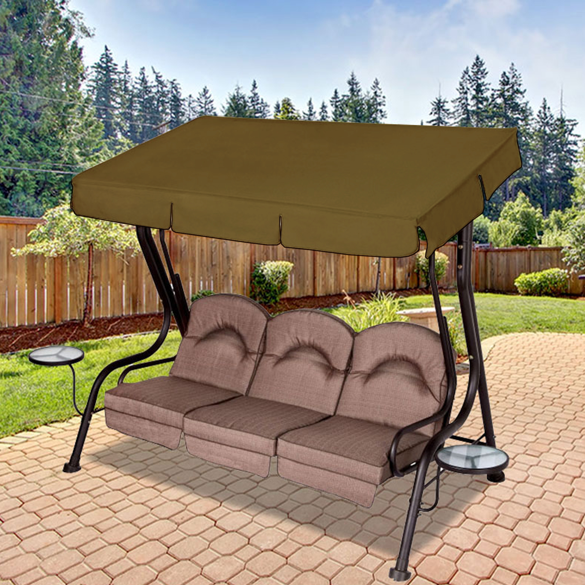 Most Recently Released Replacement Canopy For Living Accents 3 Person Deluxe Swing Inside 3 Person Brown Steel Outdoor Swings (View 21 of 30)