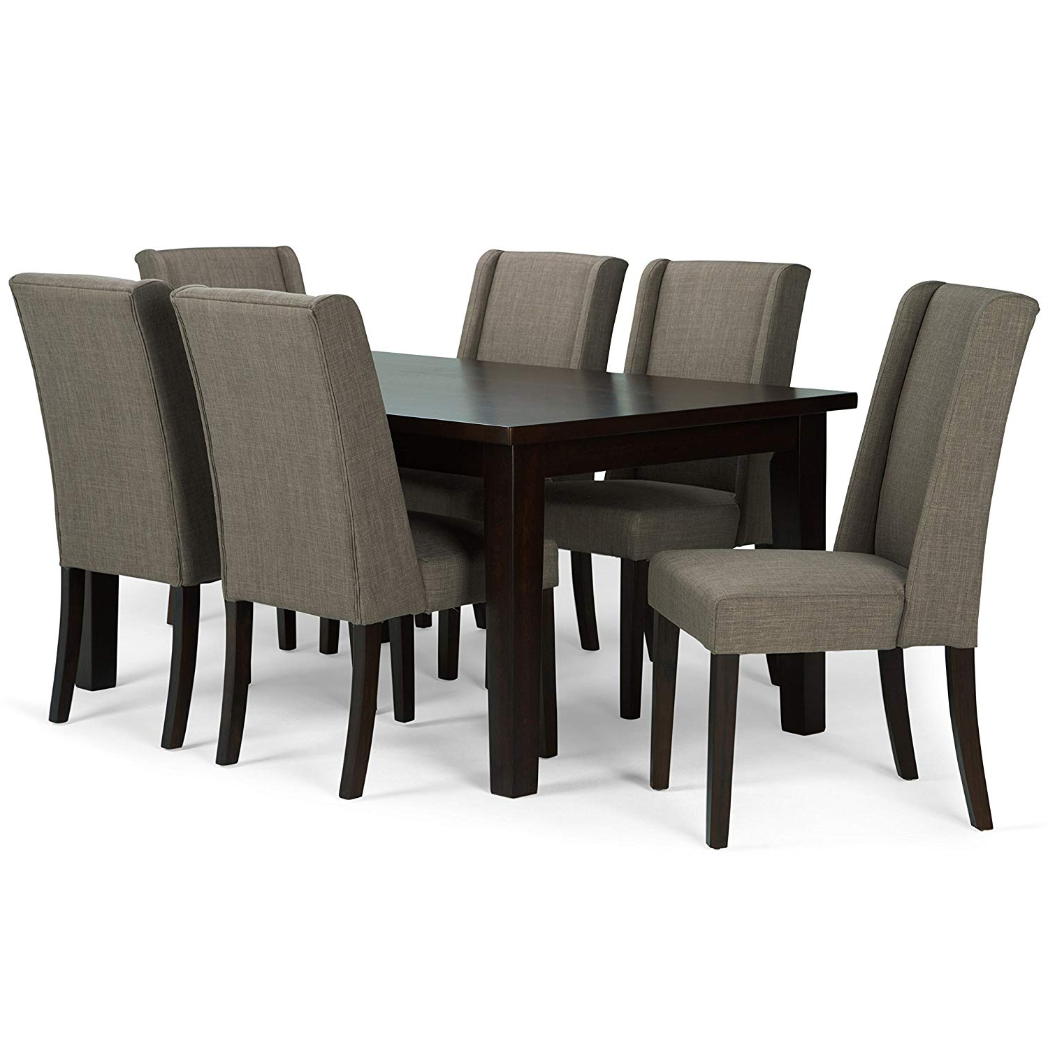 Most Recently Released Simpli Home Axcds7Sb Lml Sotherby Contemporary 7 Piece Dining Set With 6 Upholstered Dining Chairs In Light Mocha Linen Look Fabric And 66 Inch Wide For Contemporary 6 Seating Rectangular Dining Tables (Gallery 1 of 30)