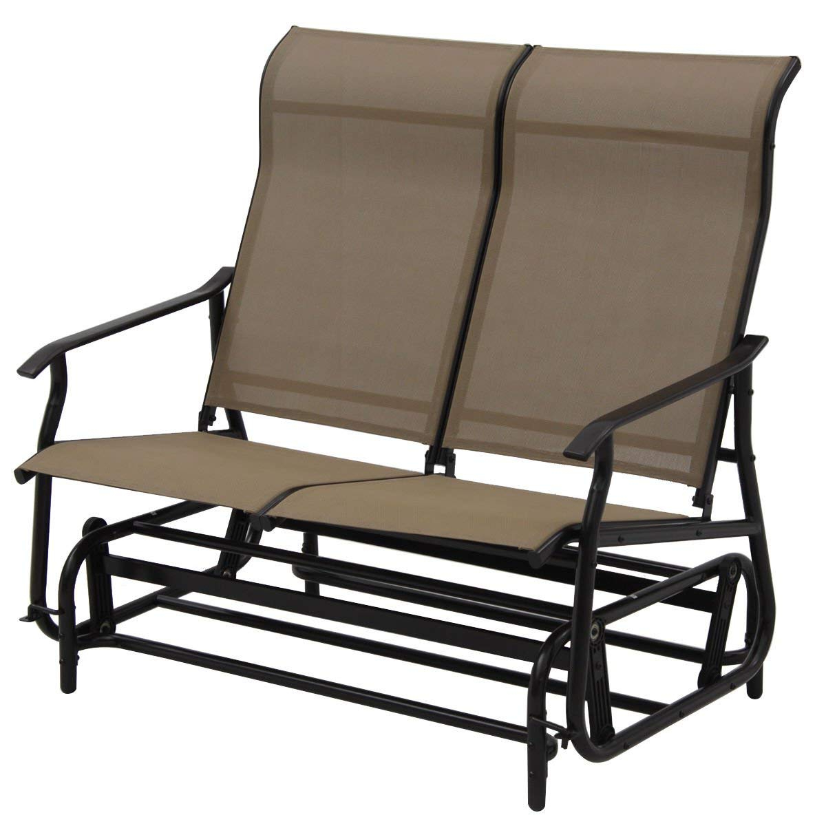 Most Recently Released Steel Patio Swing Glider Benches Throughout Amazon : Patio Swing Glider Bench For 2 Persons Rocking (View 30 of 30)