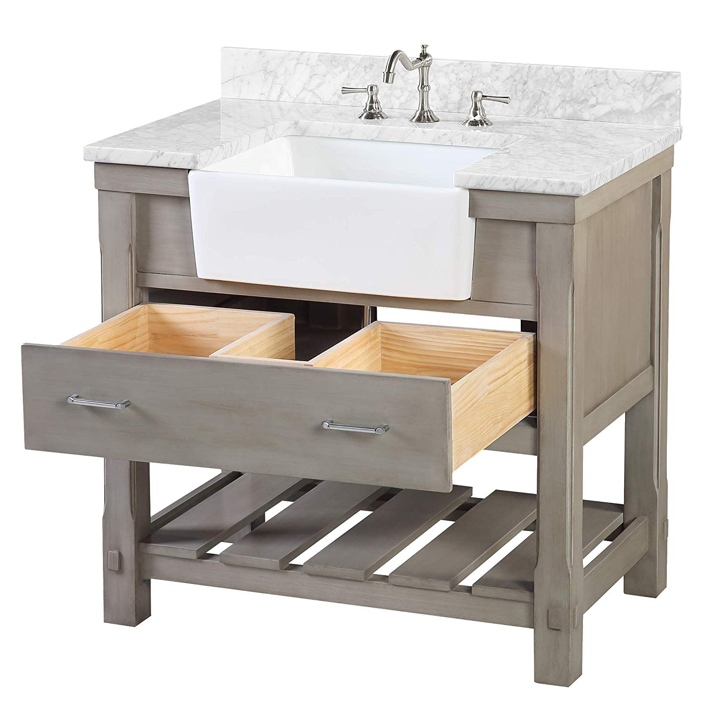 Most Recently Released Thick White Marble Slab Dining Tables With Weathered Grey Finish Regarding Charlotte 36 Inch Bathroom Vanity (carrara/weathered Gray): Includes A Carrara Marble Countertop, Royal Blue Cabinet With Soft Close Drawers, And (Gallery 11 of 30)