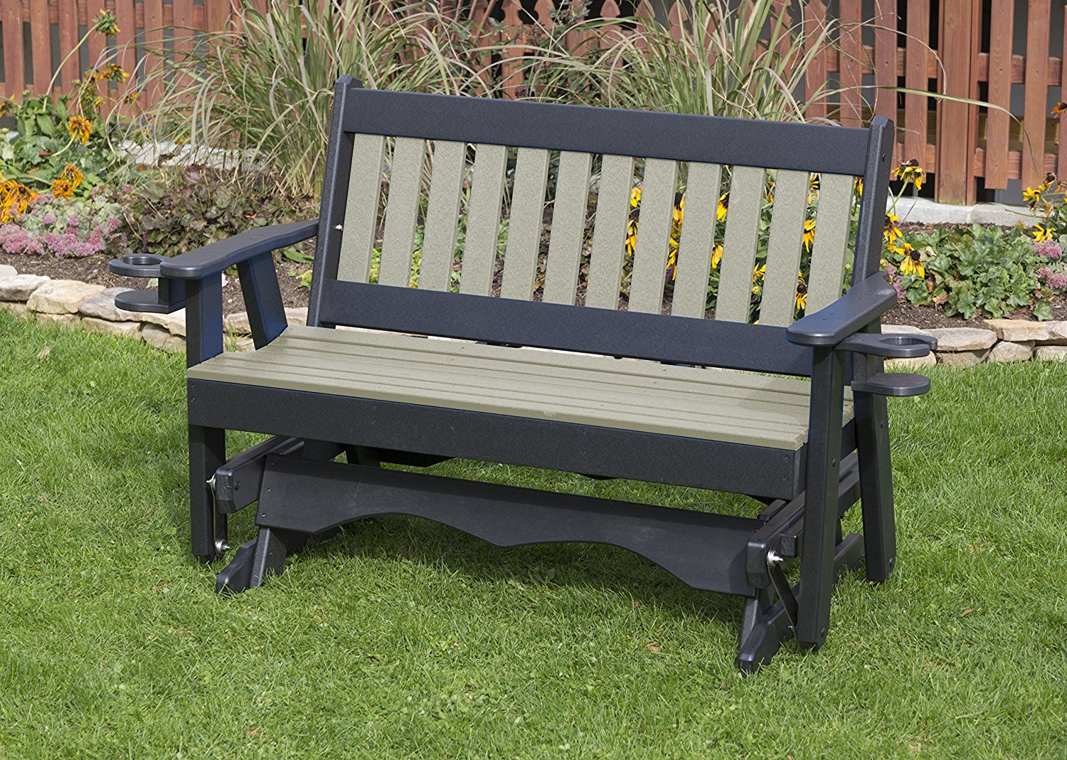 Most Recently Released Traditional Glider Benches With Regard To Black Poly Lumber Roll Back Poly Resin 2 Feet Patio Garden (View 16 of 30)
