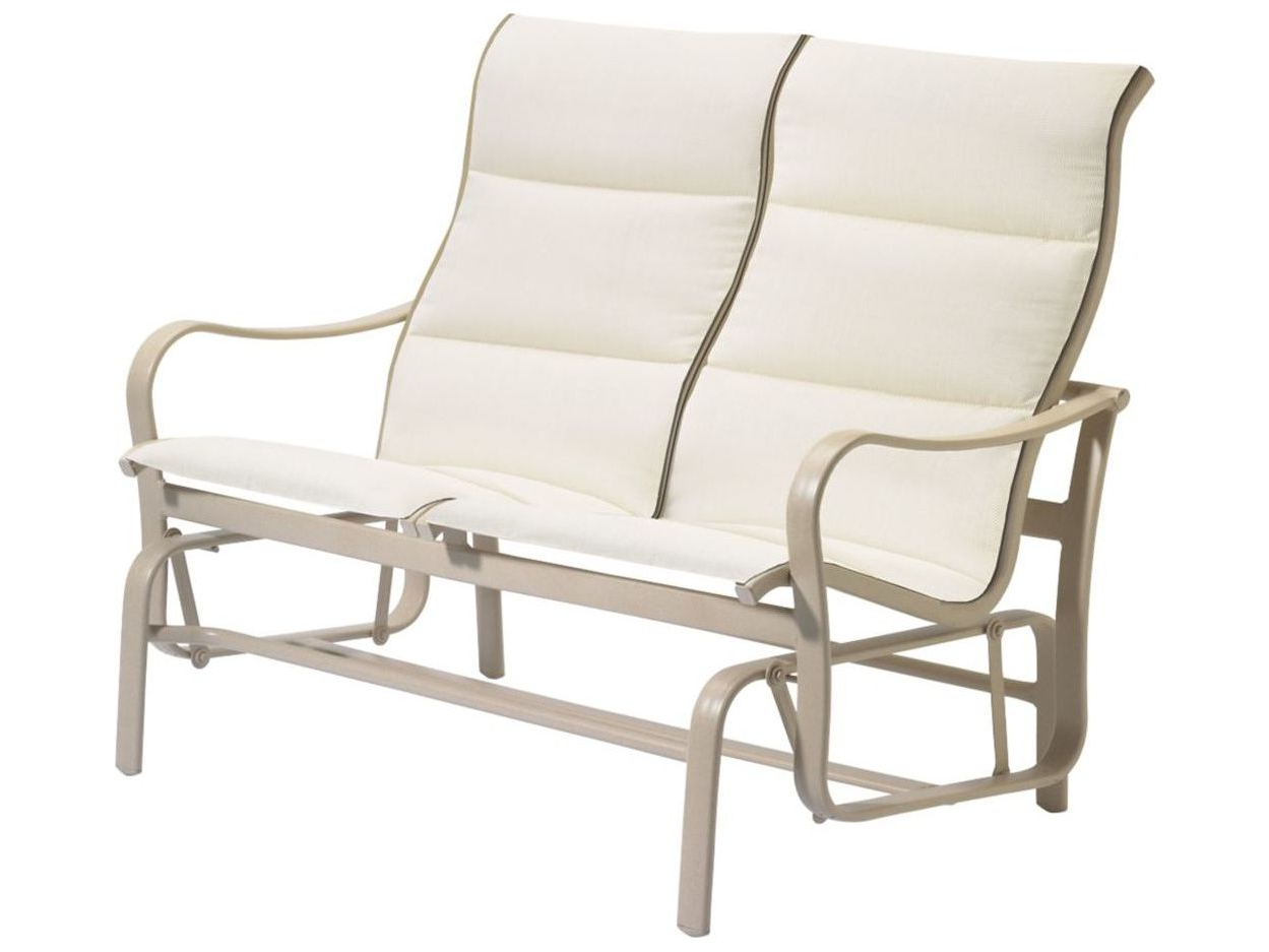 Most Recently Released Tropitone Shoreline Padded Sling Aluminum Double Glider In Padded Sling Double Glider Benches (View 18 of 30)