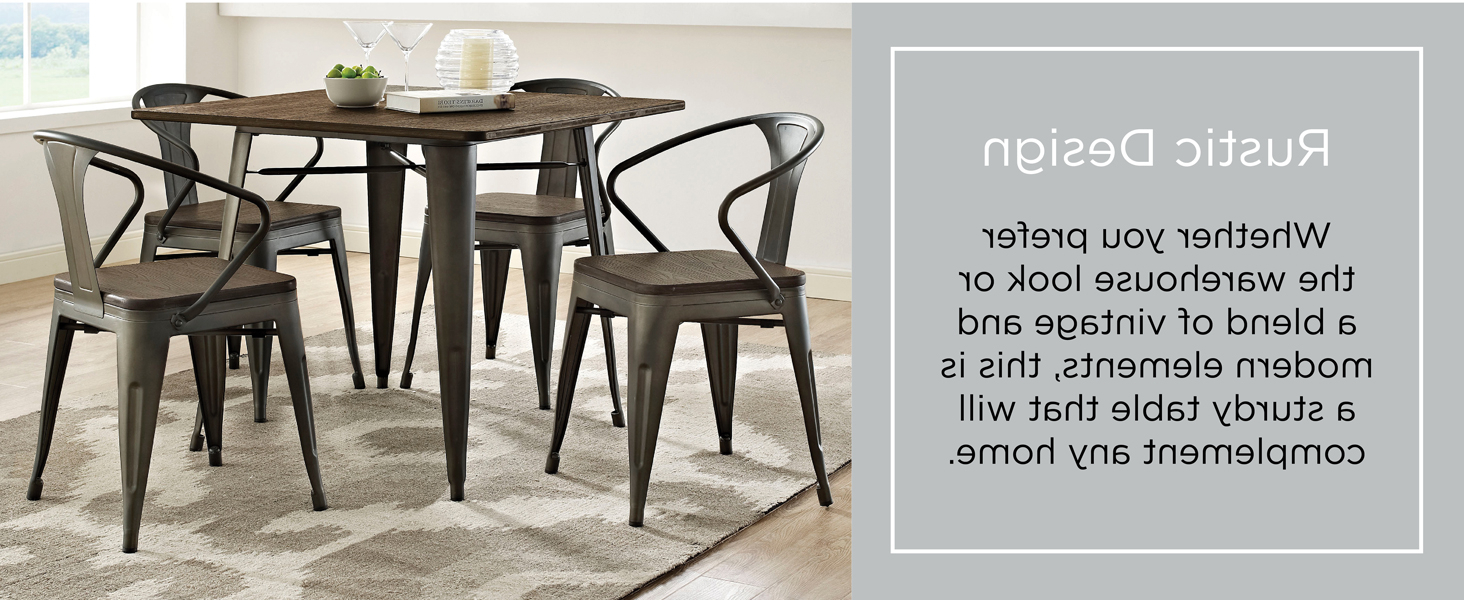 """Most Recently Released Vintage Cream Frame And Espresso Bamboo Dining Tables With Lexmod Mo Eei 2036 Brn Alacrity Rustic Modern Farmhouse Wood Square With Steel Legs, 36"""", Brown (View 16 of 30)"""