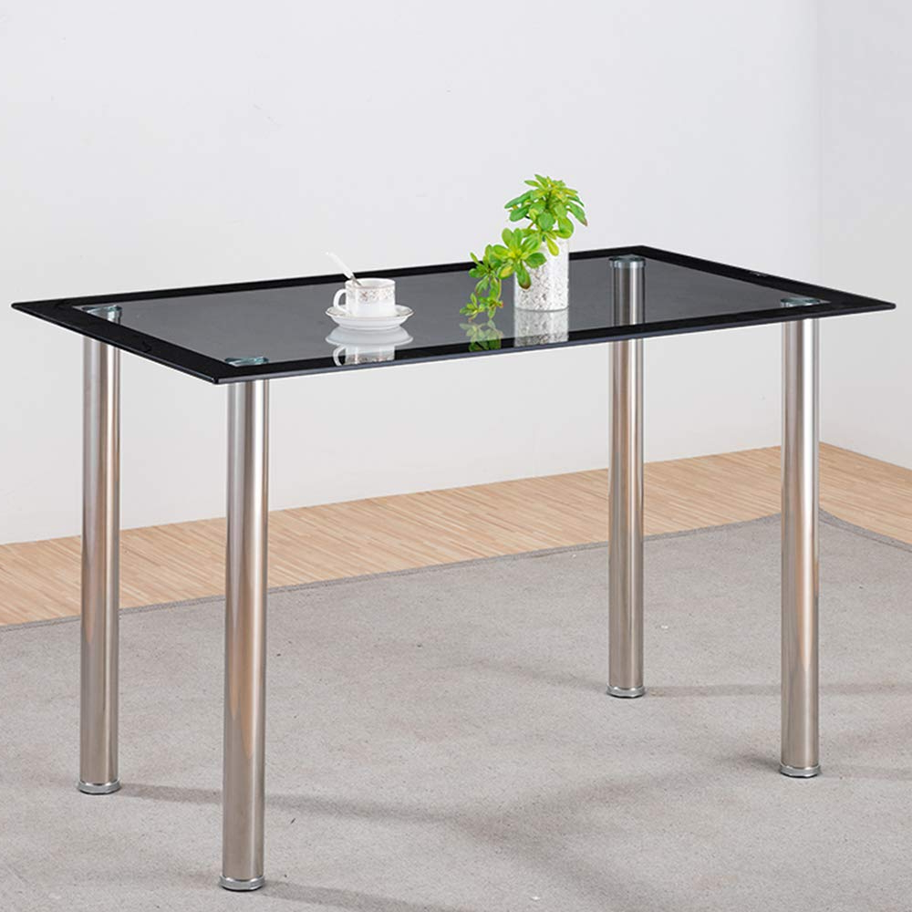 Most Recently Released Volitation Glass Dining Table With Chrome Legs, Modern Rectangle Glass Table, Glass Dining Room Set Inside Glass Dining Tables With Metal Legs (Gallery 15 of 30)