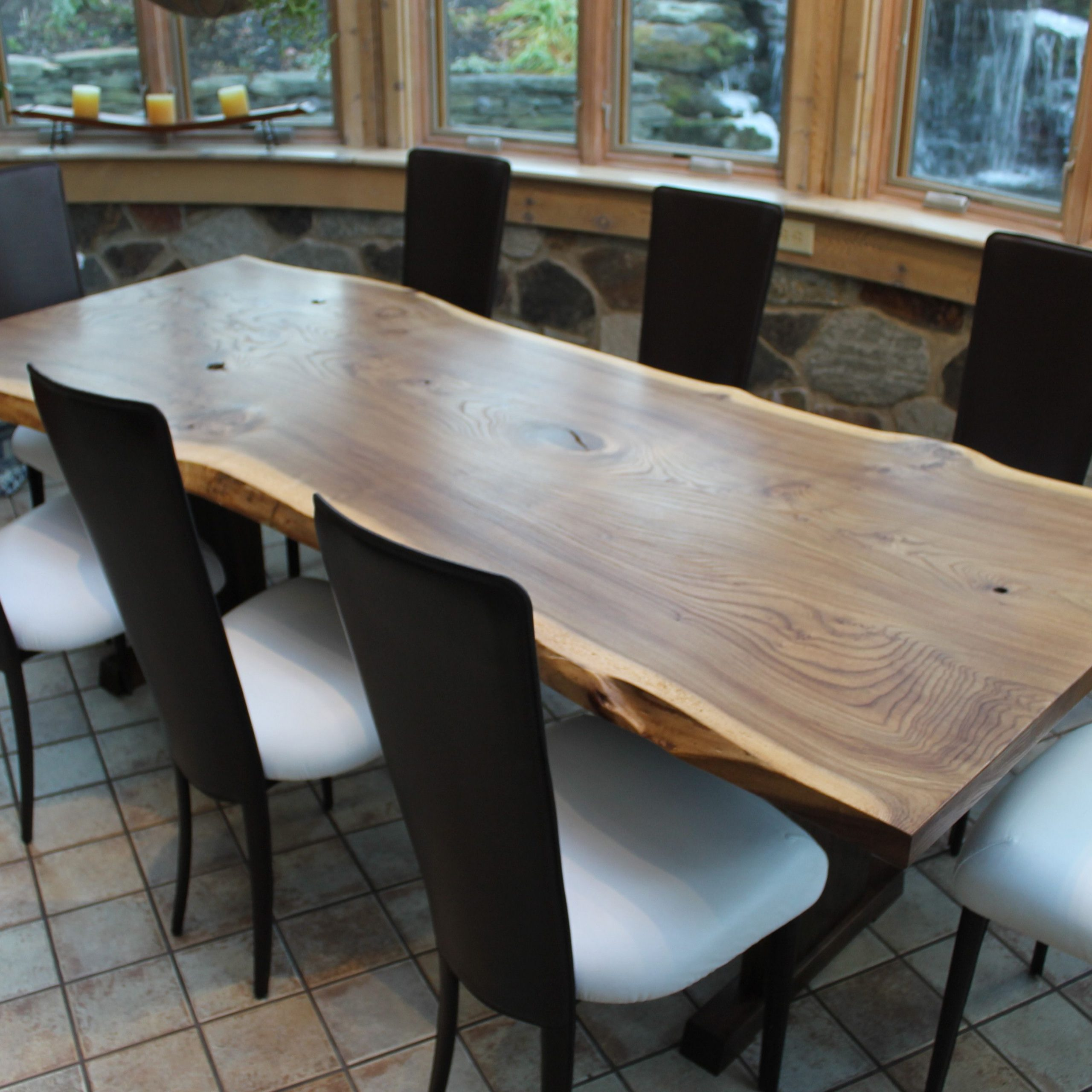 Most Recently Released Walnut Finish Live Edge Wood Contemporary Dining Tables With Regard To Hand Crafted Live Edge English Elm Slab Dining Table (View 5 of 30)