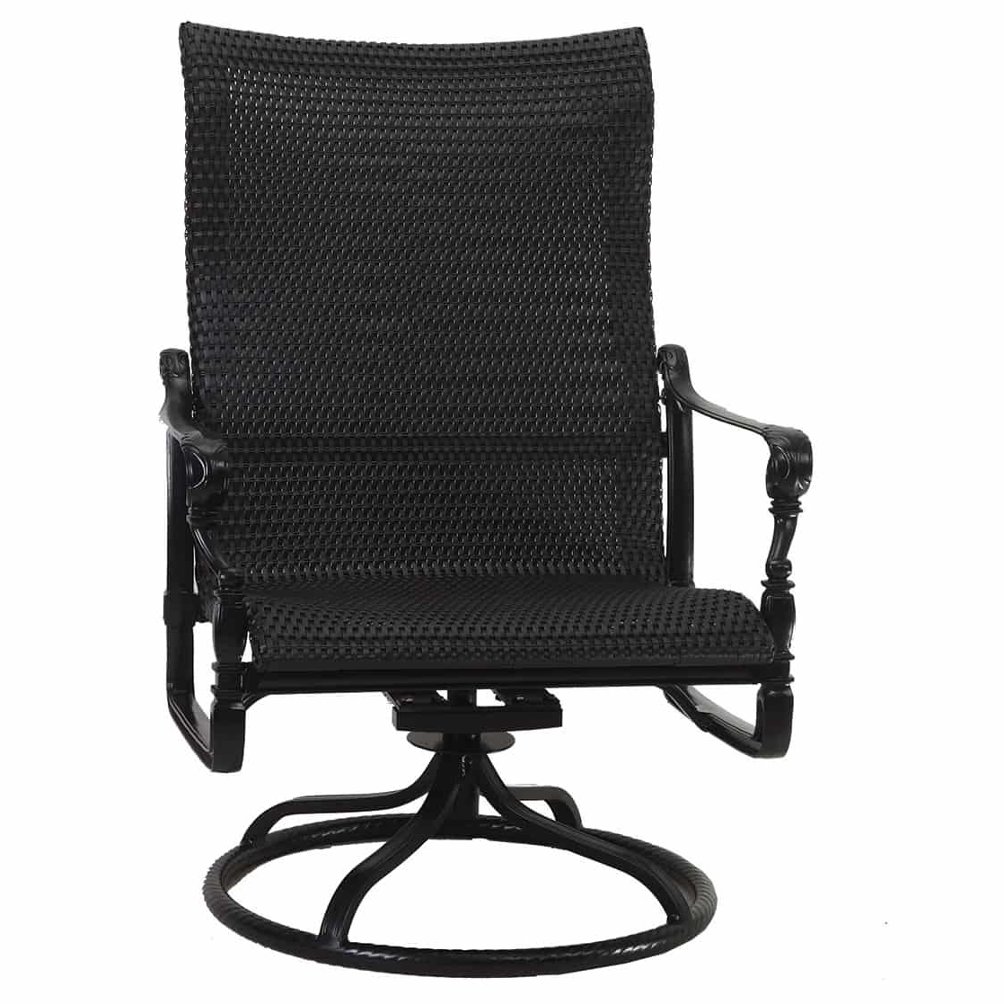 Most Recently Released Woven High Back Swivel Chairs Within Grand Terrace Woven High Back Swivel Rocker Lounge Chair (View 7 of 30)