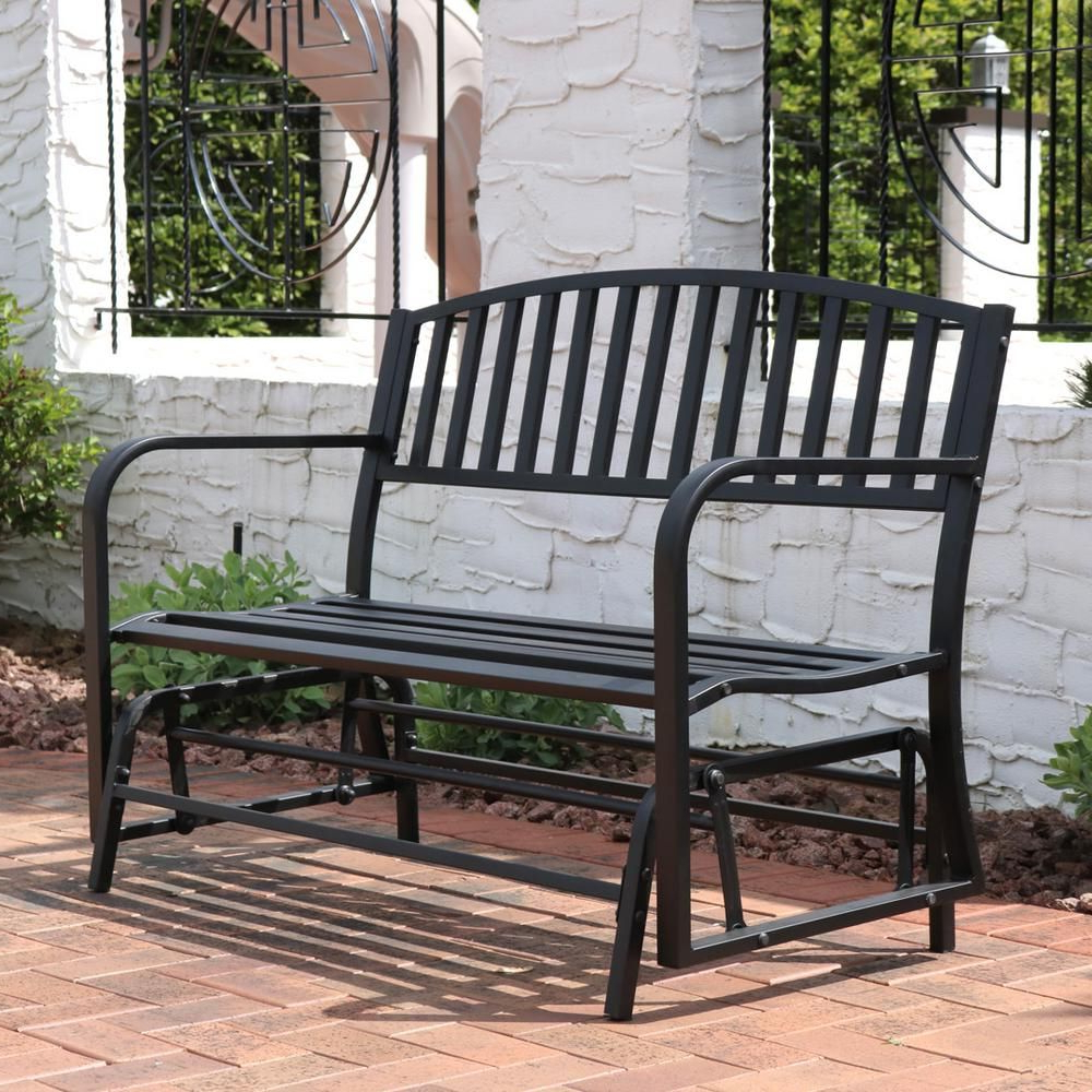 Most Up To Date 2 Person Black Wood Outdoor Swings Regarding Sunnydaze Decor 2 Person Black Steel Outdoor Glider Bench In (Gallery 13 of 30)