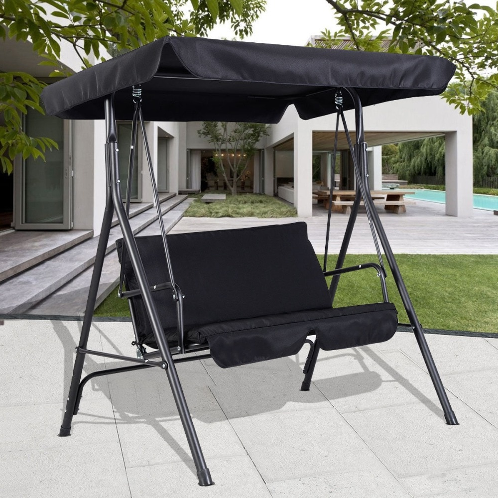 Most Up To Date 2 Person Gray Steel Outdoor Swings Inside 2 Person Black Outdoor Patio Swing Canopy Awning Yard (Gallery 17 of 30)