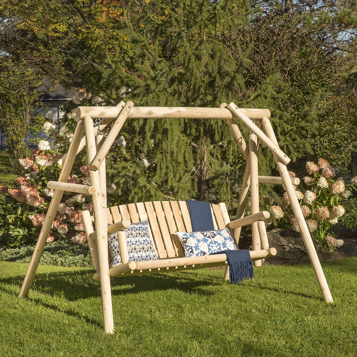 Most Up To Date 2 Person Light Teak Oil Wood Outdoor Swings Intended For Bestar White Cedar 5' Swing (View 24 of 30)