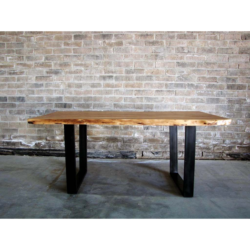 Most Up To Date Acacia Natural Wood Live Edge Table With Black U Shaped Legs Intended For Acacia Dining Tables With Black Legs (View 6 of 30)