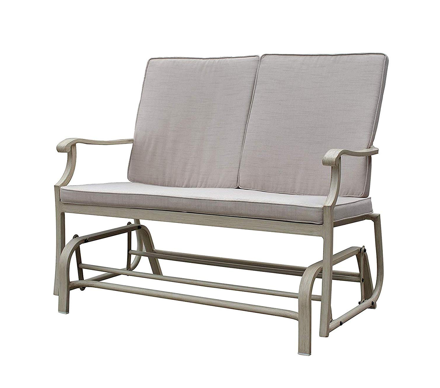 Most Up To Date Aluminum Outdoor Double Glider Benches Within Amazon: Wood & Style Patio Outdoor Garden Premium Camel (View 22 of 30)