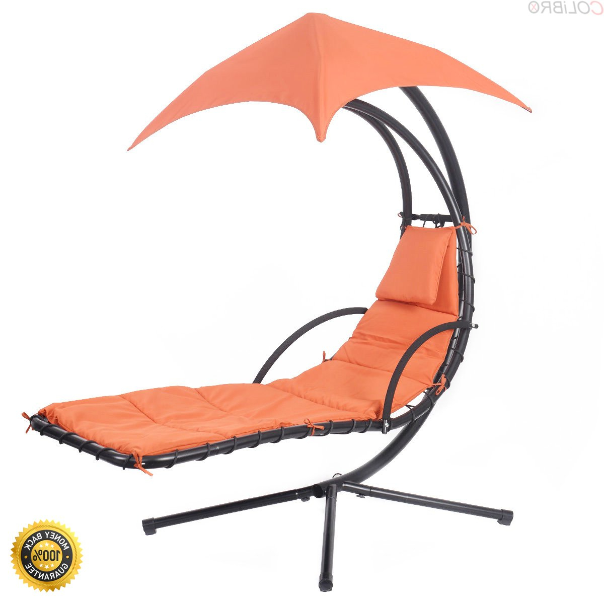 Most Up To Date Amazon : Colibrox–hanging Chaise Lounge Chair Arc Stand Inside Patio Loveseat Canopy Hammock Porch Swings With Stand (Gallery 13 of 30)