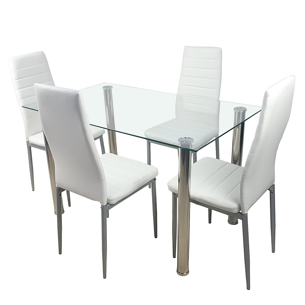 Most Up To Date Amazon – Knocbel Dining Table Set Tempered Glass In Glass Dining Tables With Metal Legs (Gallery 27 of 30)