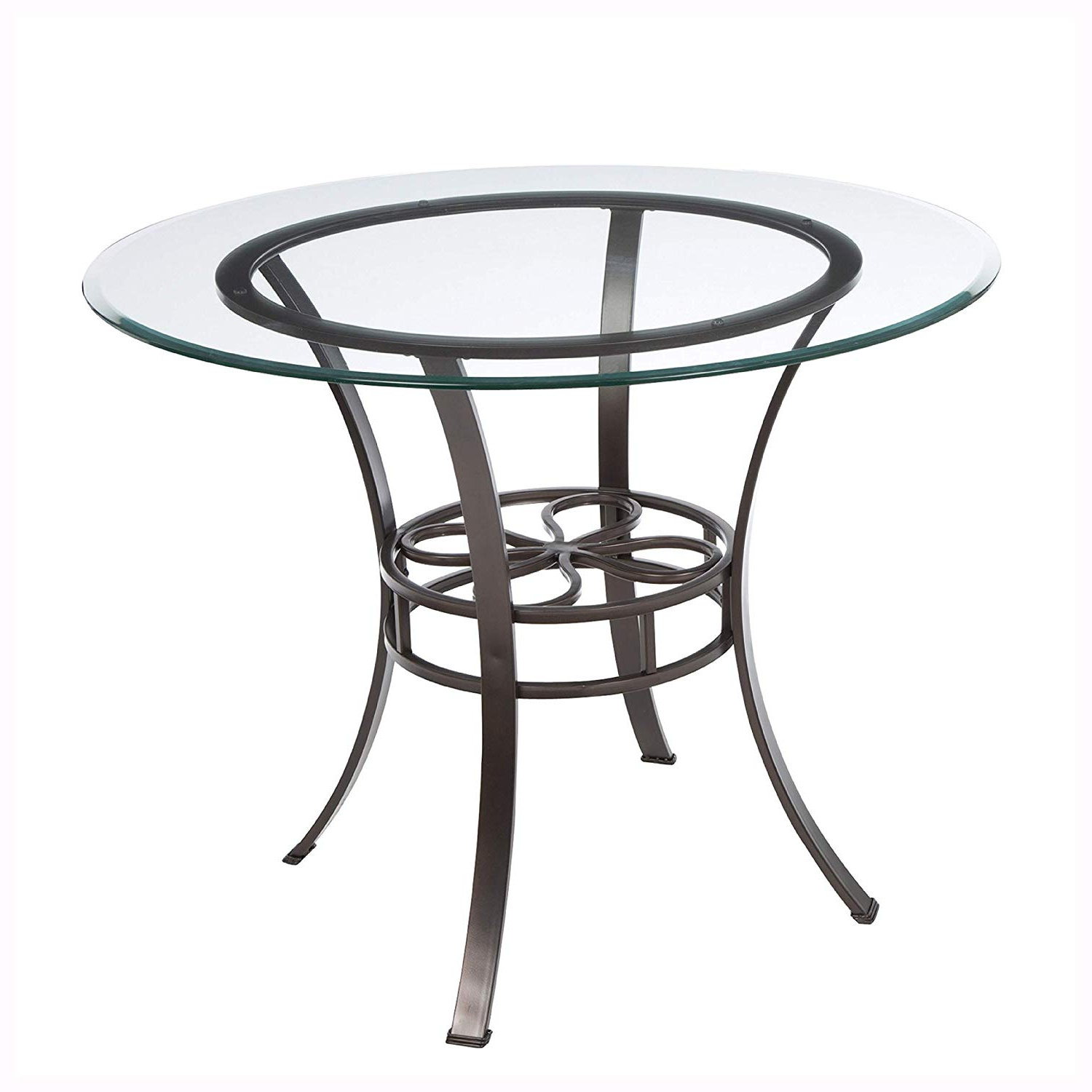 Most Up To Date Amazon – Round Glass Top Dining Table With Durable Metal Inside Modern Round Glass Top Dining Tables (Gallery 19 of 30)