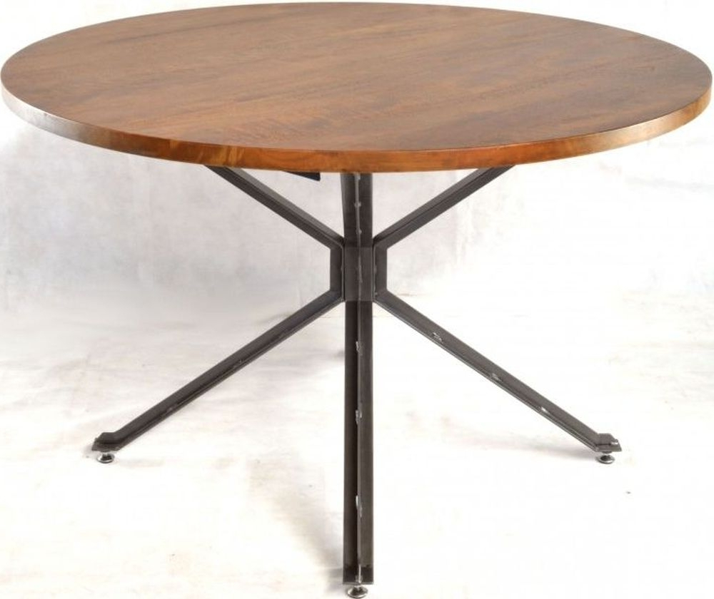 Most Up To Date Ancient Mariner Brace Mango Wood Round Dining Table With Iron Dining Tables With Mango Wood (Gallery 14 of 30)