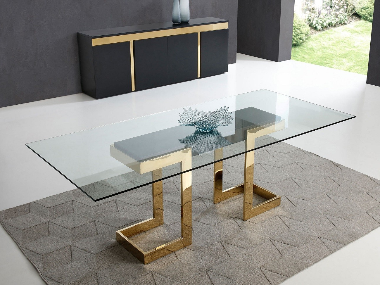 Most Up To Date Best Modern Contemporary Furniture Stores Orlando Miami Pertaining To Modern Gold Dining Tables With Clear Glass (View 23 of 30)