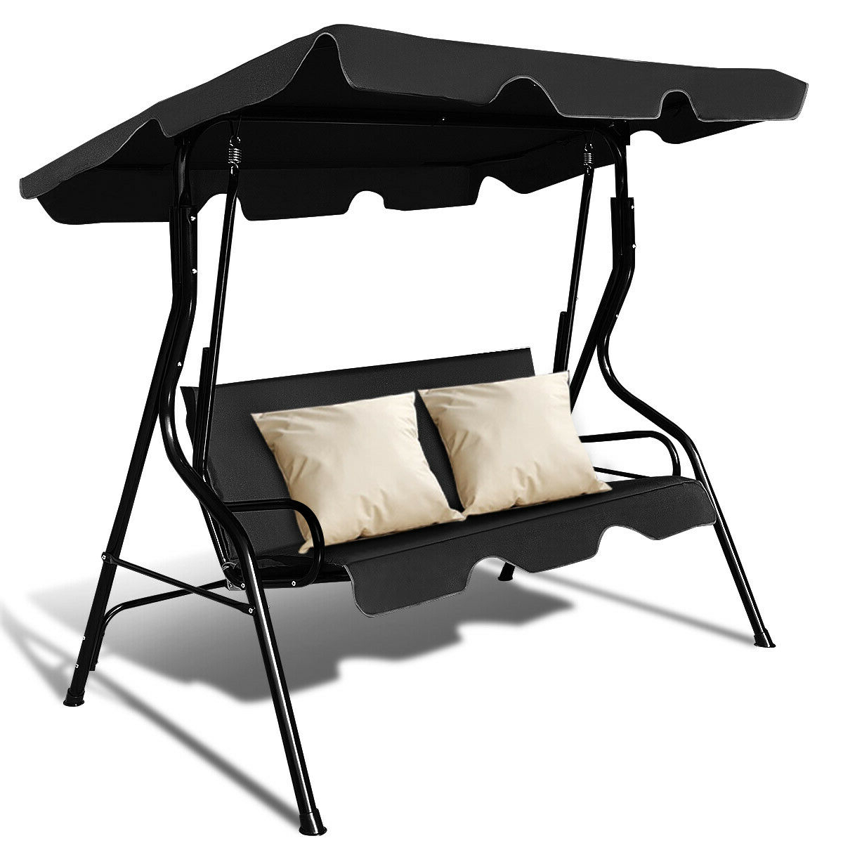 Most Up To Date Costway 3 Seats Patio Canopy Swing Glider Hammock Cushioned Steel Frame  Backyar Black – Walmart In 2 Person Outdoor Convertible Canopy Swing Gliders With Removable Cushions Beige (Gallery 26 of 30)