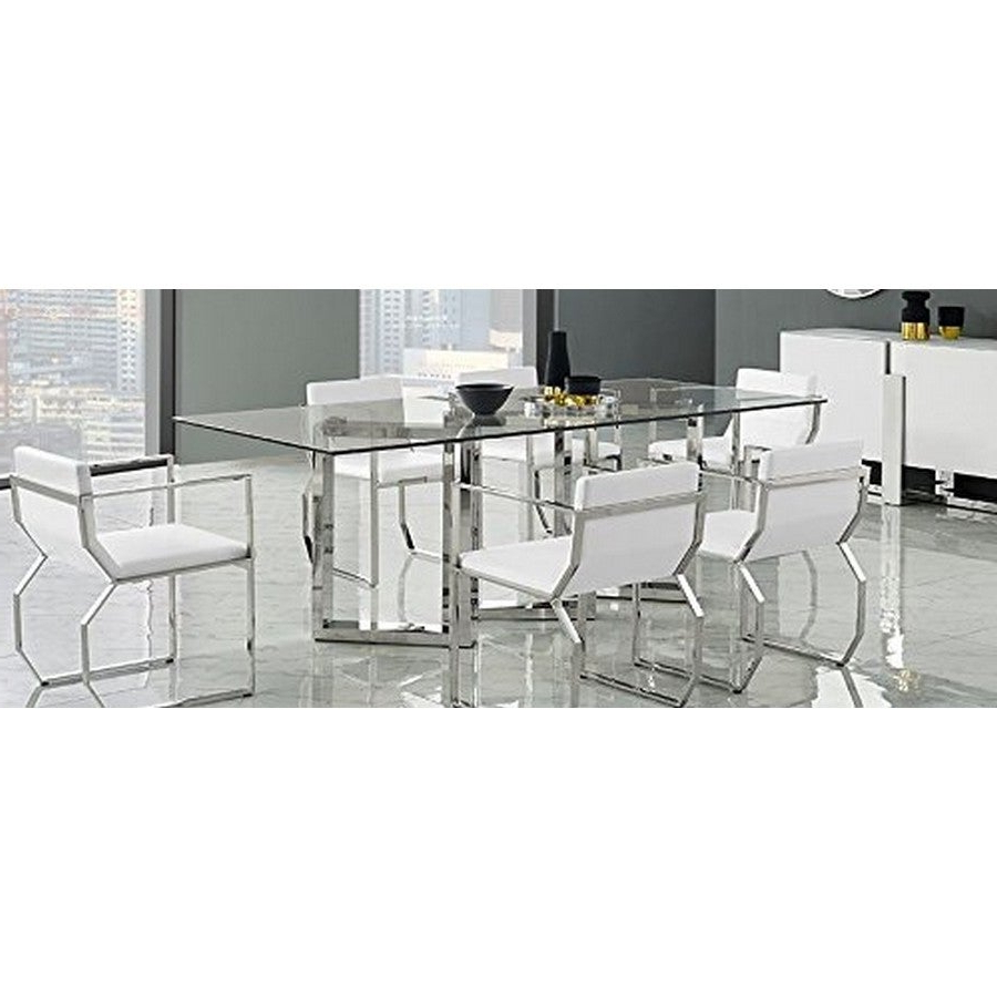 Most Up To Date Dining Room Furniture Dt1439 Blake Rectangle Dining Table, 12mm Clear Tempered Glass Top, Polished Stainless Steel Basewhiteline Selections Regarding Steel And Glass Rectangle Dining Tables (Gallery 30 of 30)