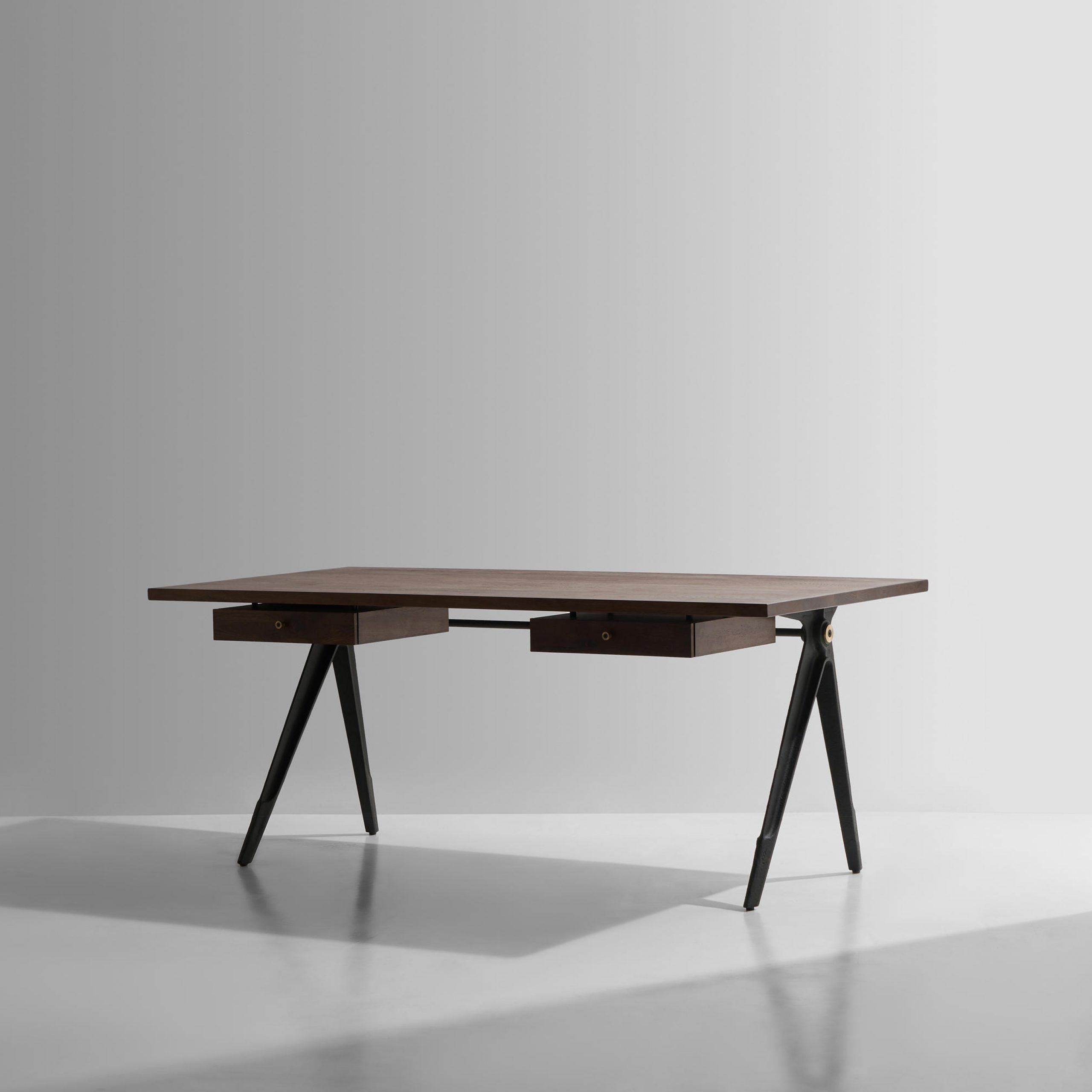 Most Up To Date Dining Tables In Smoked/seared Oak Within Compass Desk Double Drawer (View 14 of 30)