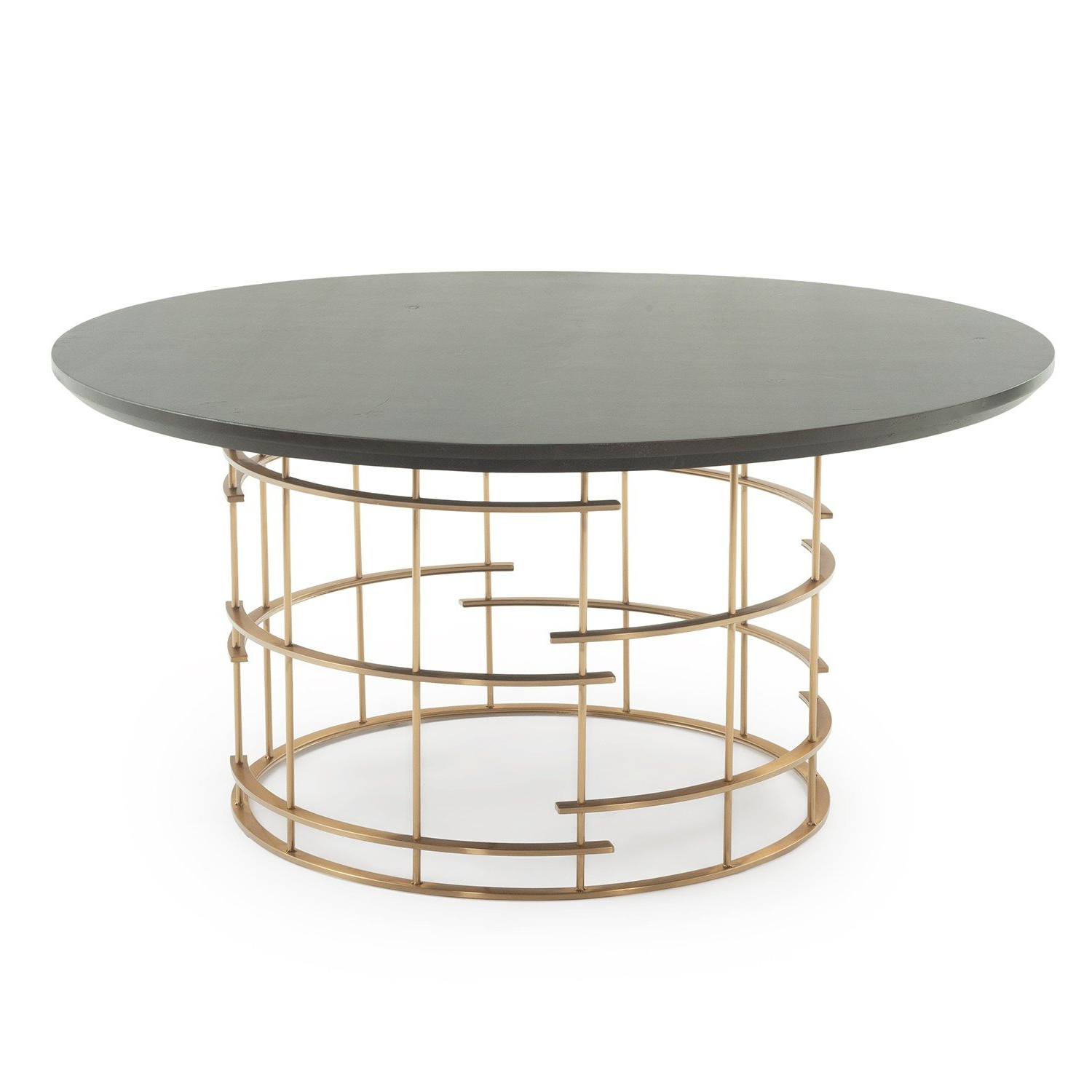 Most Up To Date Dining Tables With Brushed Gold Stainless Finish Intended For Contemporary Round Cage Base Dining Table Dt01093 (Gallery 16 of 30)