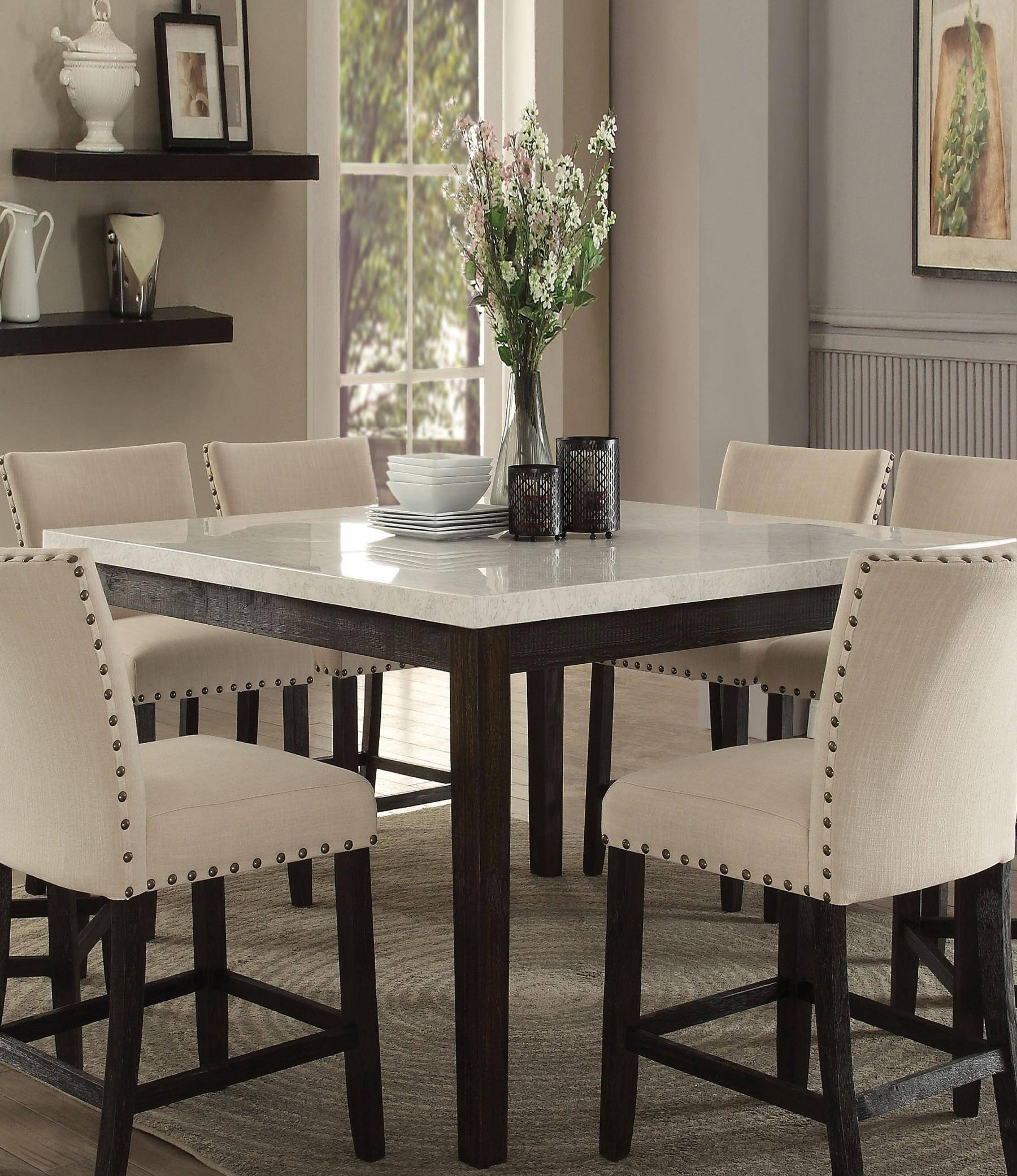 Most Up To Date Dining Tables With White Marble Top Regarding Casual White Marble Top Counter Height Dining Set 5Pcs Acme (Gallery 14 of 30)