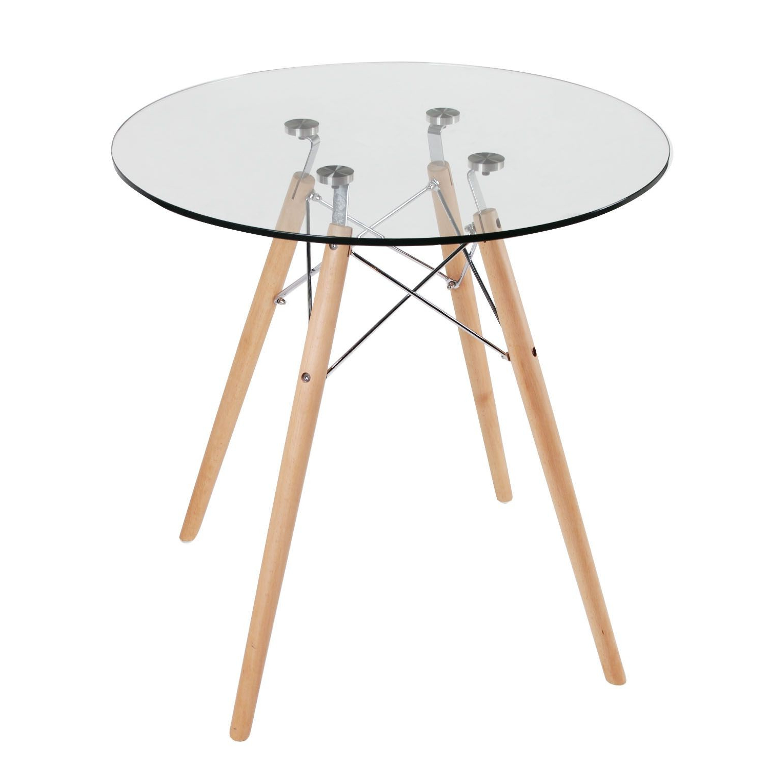 Most Up To Date Eames Style Dining Tables With Chromed Leg And Tempered Glass Top Inside Replica Eames Eiffel Wood Leg Table (Gallery 22 of 30)