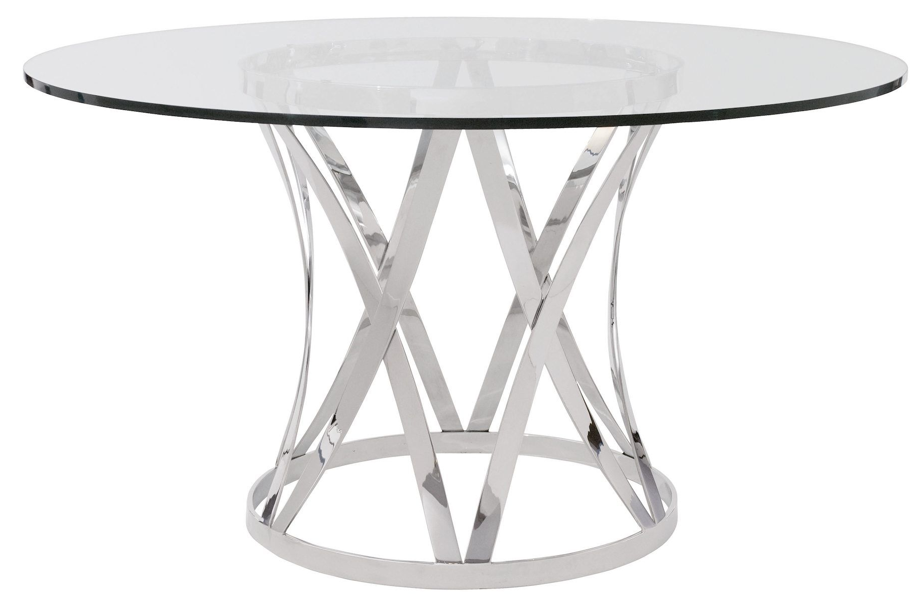Most Up To Date Eames Style Dining Tables With Chromed Leg And Tempered Glass Top Throughout Contemporary Glass Top Round Dining Table With Chrome (Gallery 8 of 30)