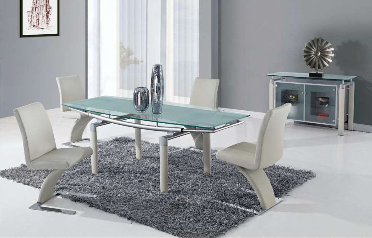 Most Up To Date Extendable Frosted Glass Top Designer Modern Dining Room With Regard To Chrome Contemporary Square Casual Dining Tables (View 2 of 30)