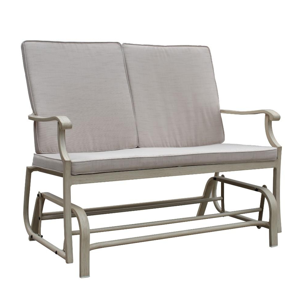 Most Up To Date Glider Benches With Cushions With Regard To Courtyard Casual 29 In. Aluminum Outdoor Double Glider With Beige Cushions (Gallery 30 of 30)