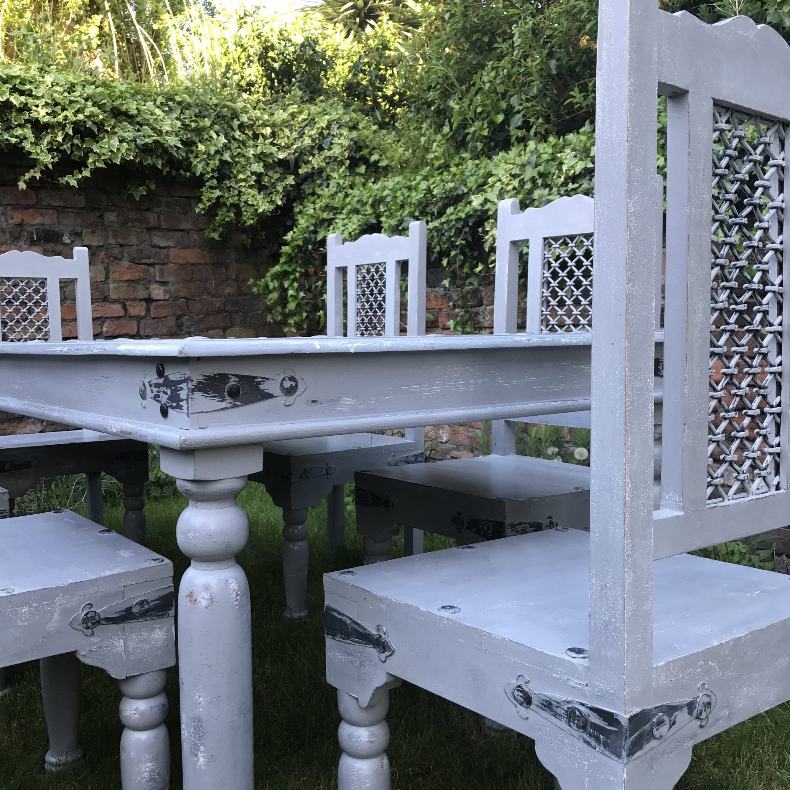 Most Up To Date Grey Dining Table And Chairs Painted In Rustic Farmhouse With Regard To Large Rustic Look Dining Tables (Gallery 23 of 30)