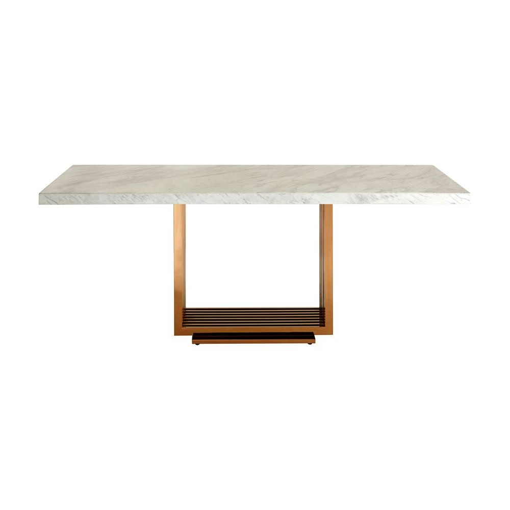 Most Up To Date Houseology Collection Mona Dining Table White Marble Top Rose Gold Stainless Steel Legs With Dining Tables With White Marble Top (View 3 of 30)